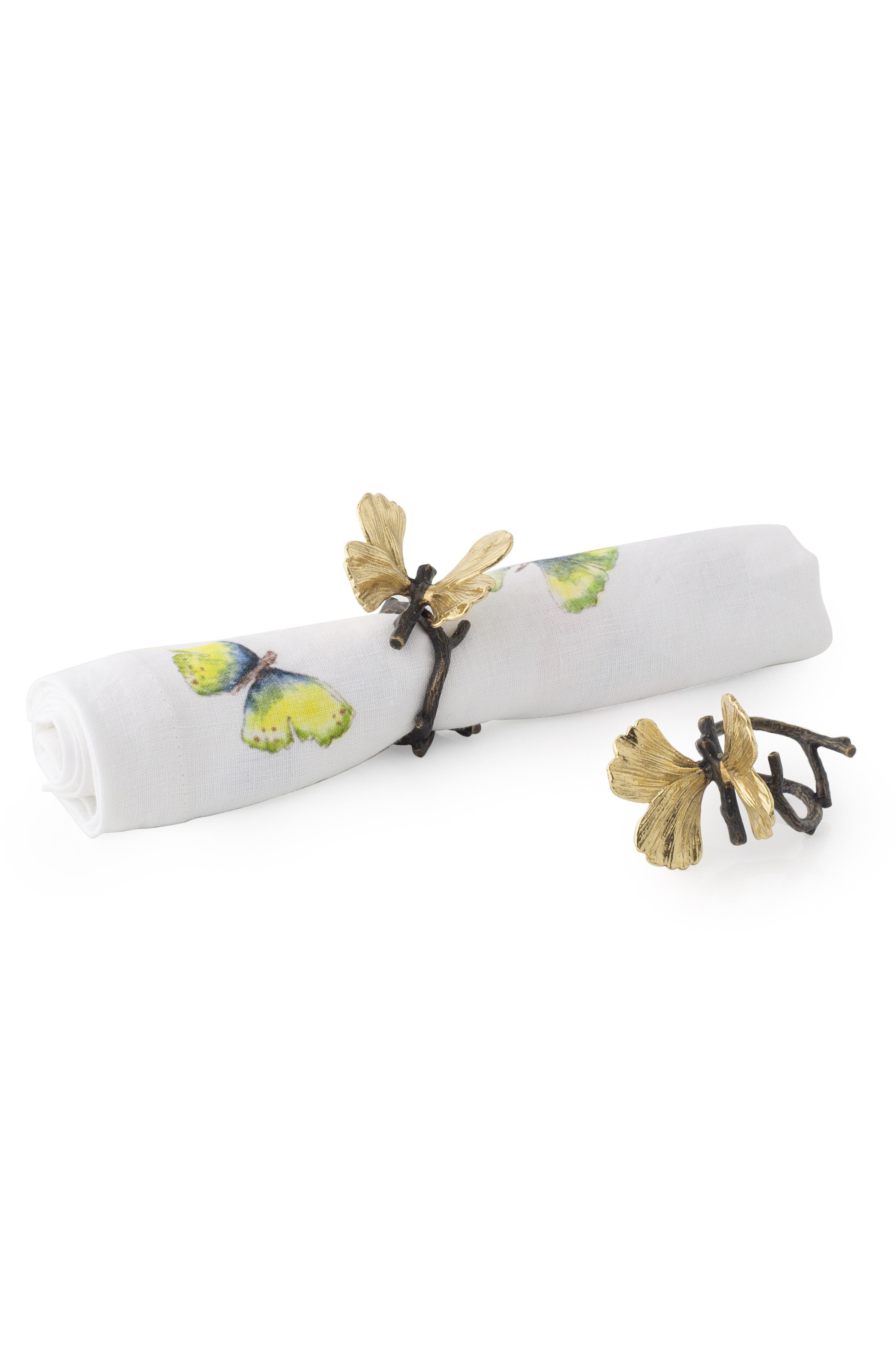 MICHAEL ARAM, Butterfly Ginkgo Set of 4 Napkin Rings, Main thumbnail 1, color, SILVER