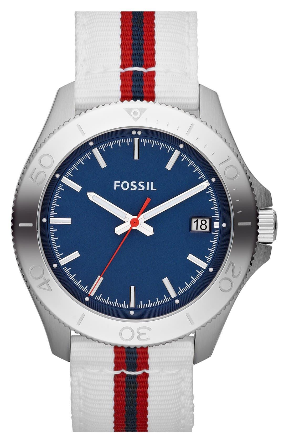 FOSSIL 'Retro Traveler' Nylon Strap Watch, 44mm, Main, color, 100