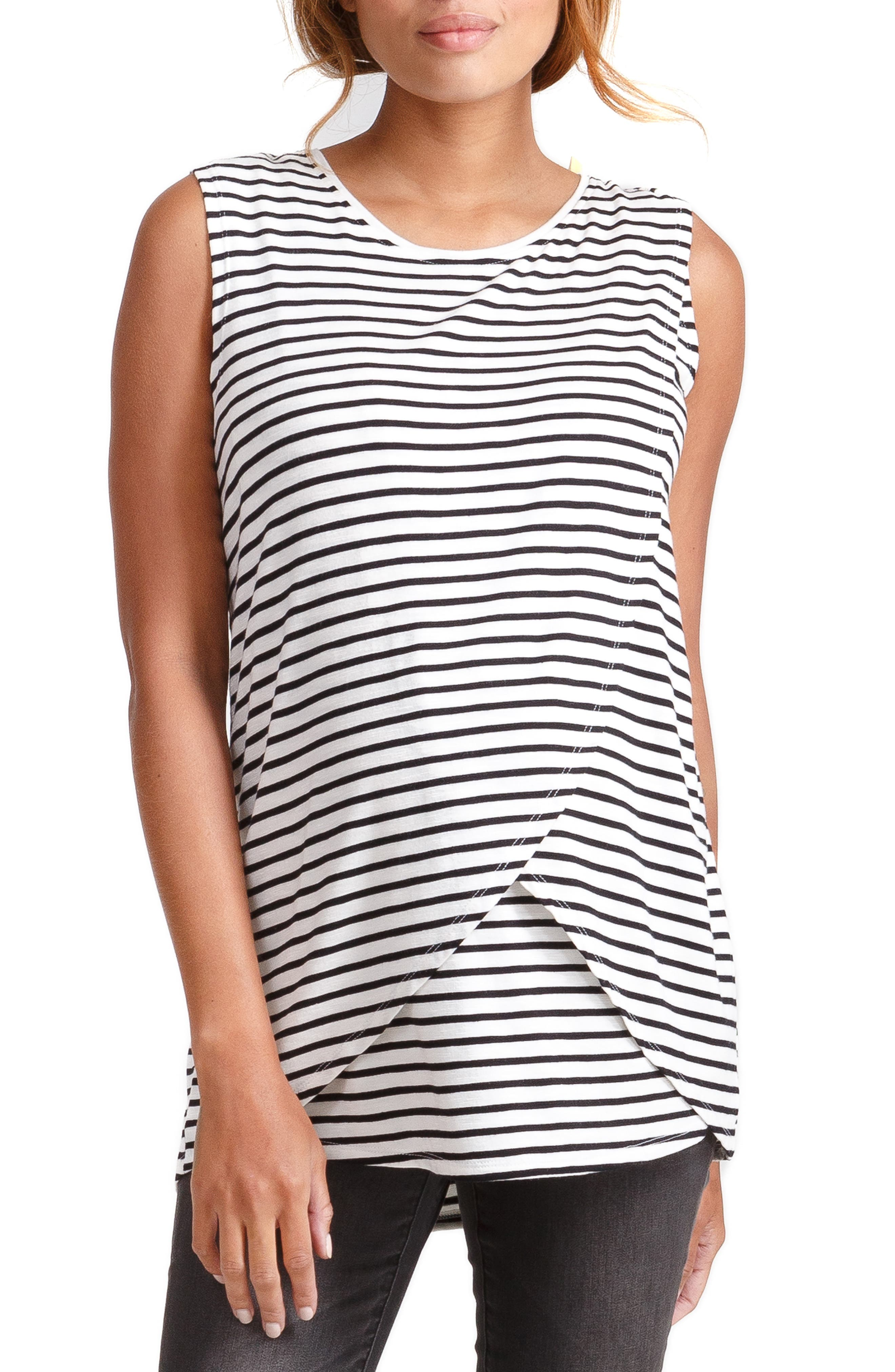 INGRID & ISABEL<SUP>®</SUP>, Cross Front Maternity/Nursing Top, Main thumbnail 1, color, BLACK/ WHITE STRIPE