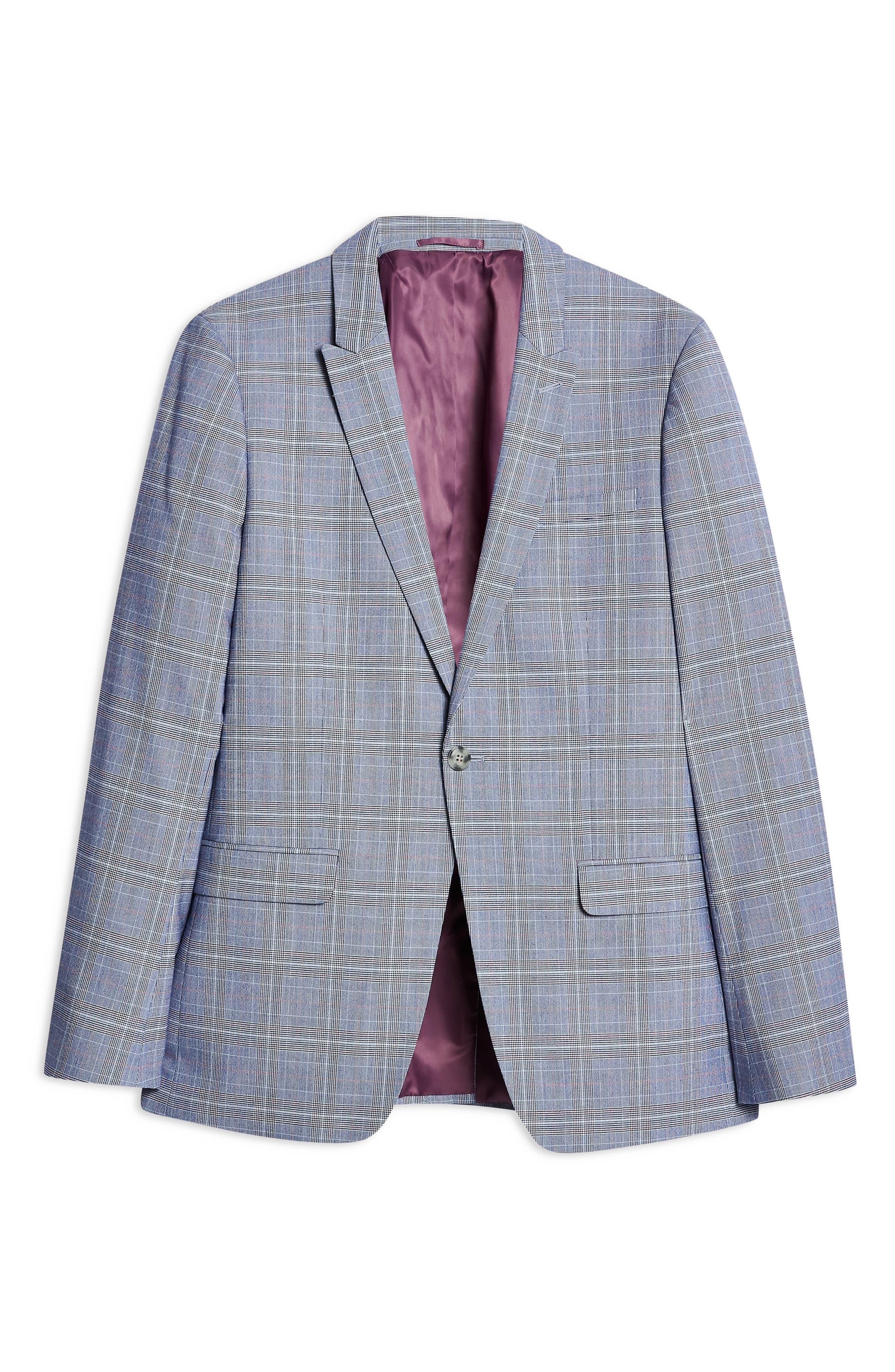 TOPMAN, Skinny Fit Suit Jacket, Alternate thumbnail 4, color, BLUE MULTI