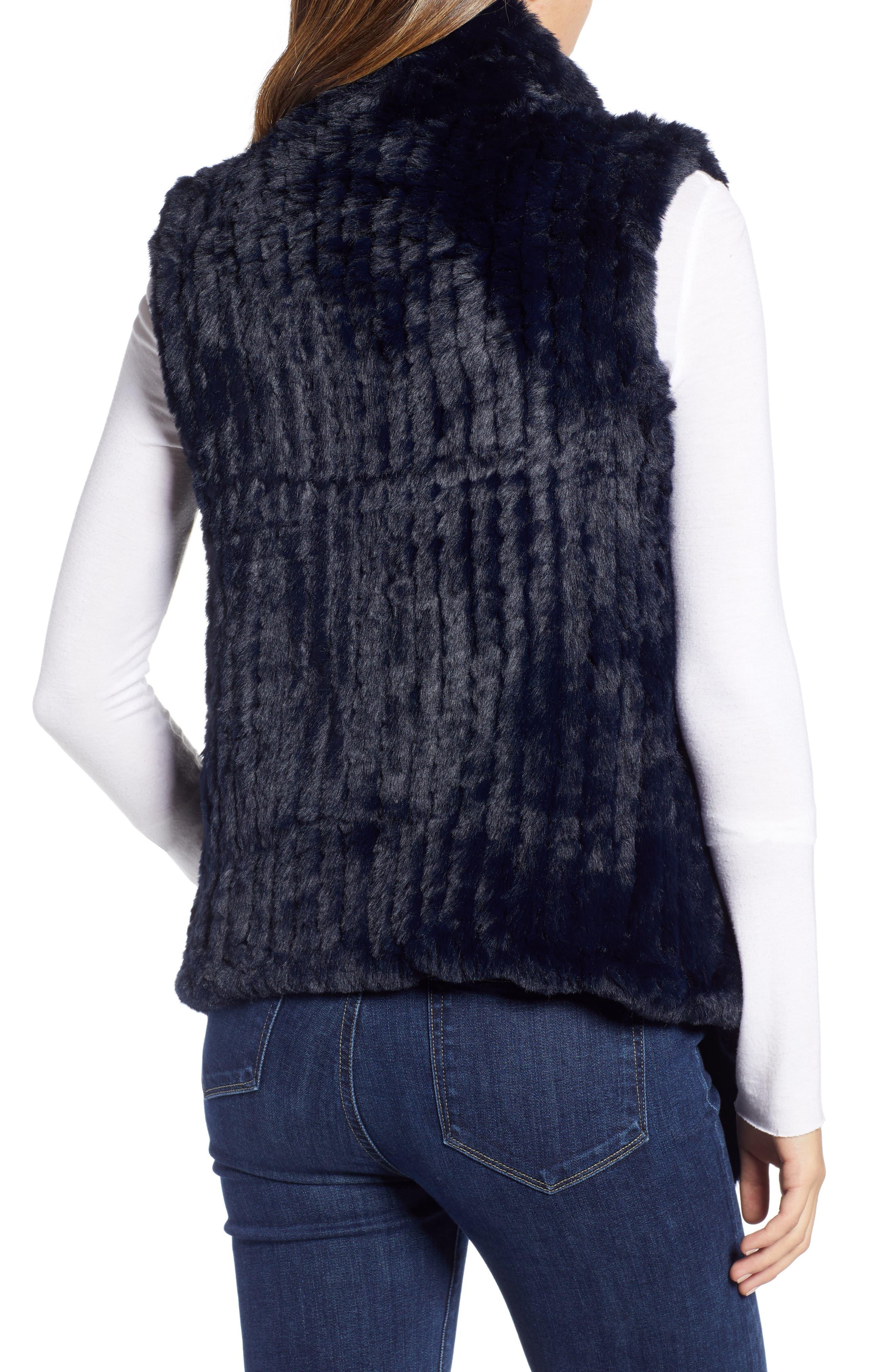 LOVE TOKEN, Faux Fur Vest, Alternate thumbnail 2, color, NAVY