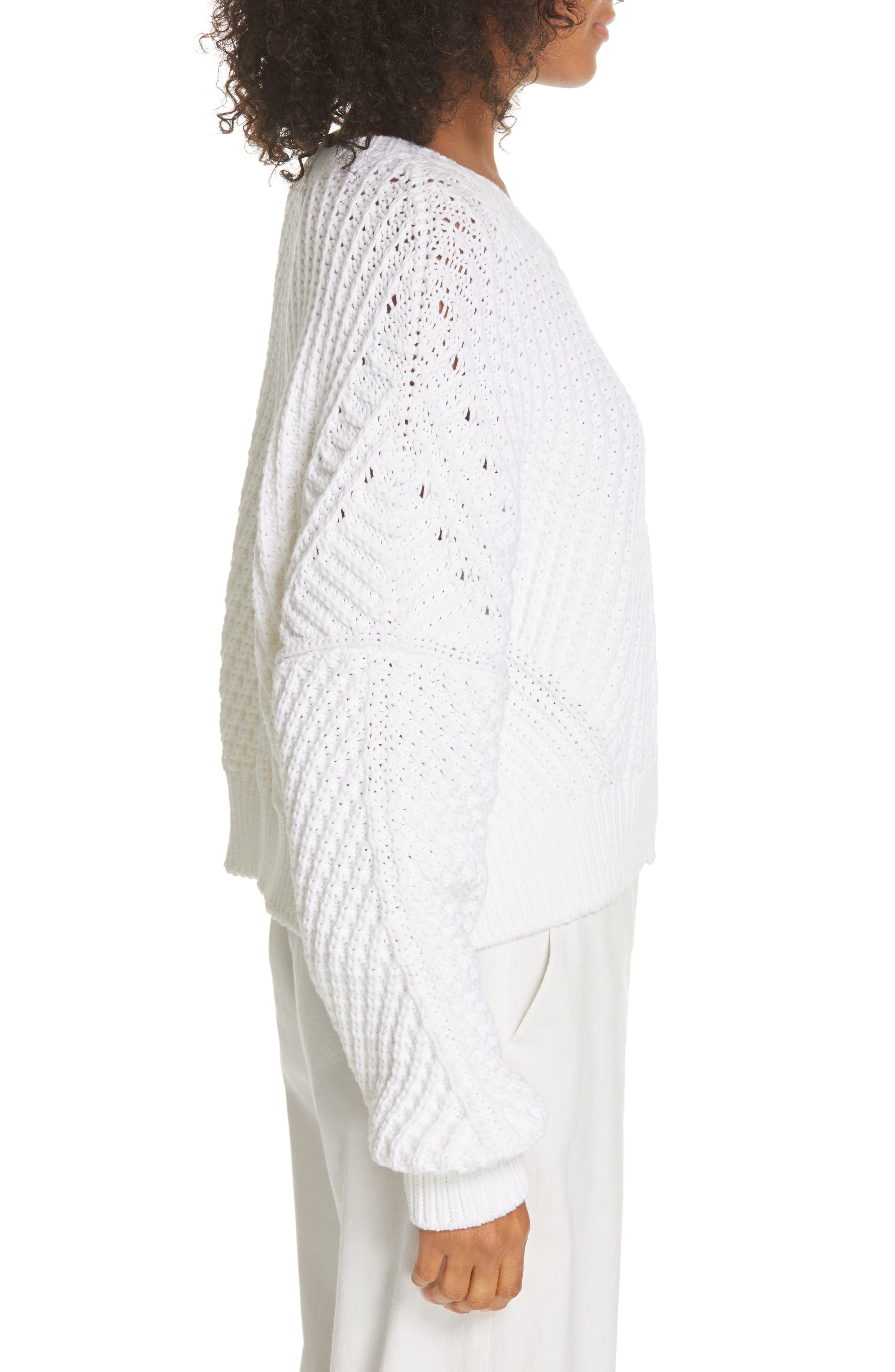 VINCE, Rib Knit Sweater, Alternate thumbnail 3, color, OPTIC WHITE