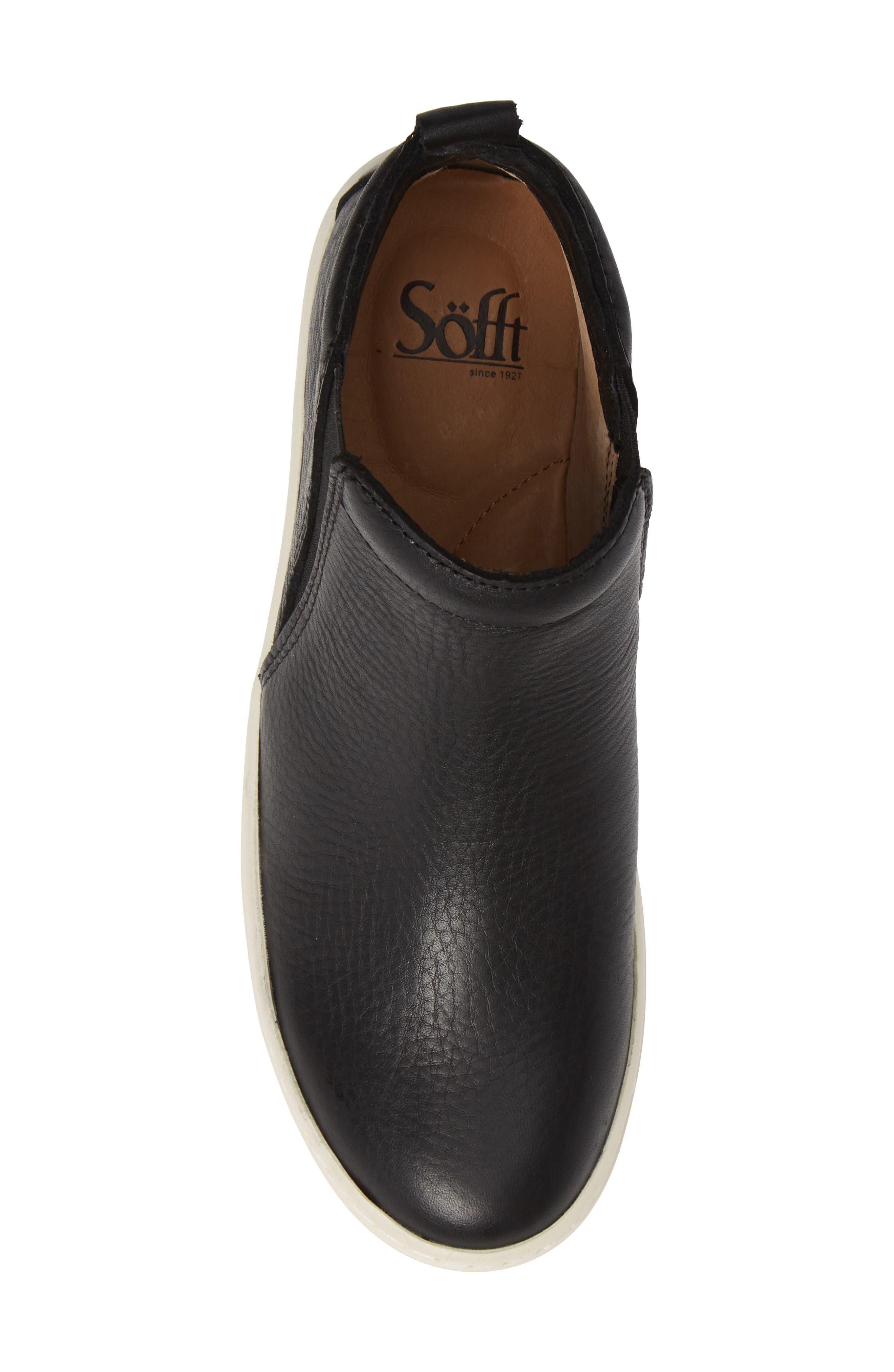 SÖFFT, Britton II Waterproof Sneaker Bootie, Alternate thumbnail 5, color, BLACK LEATHER