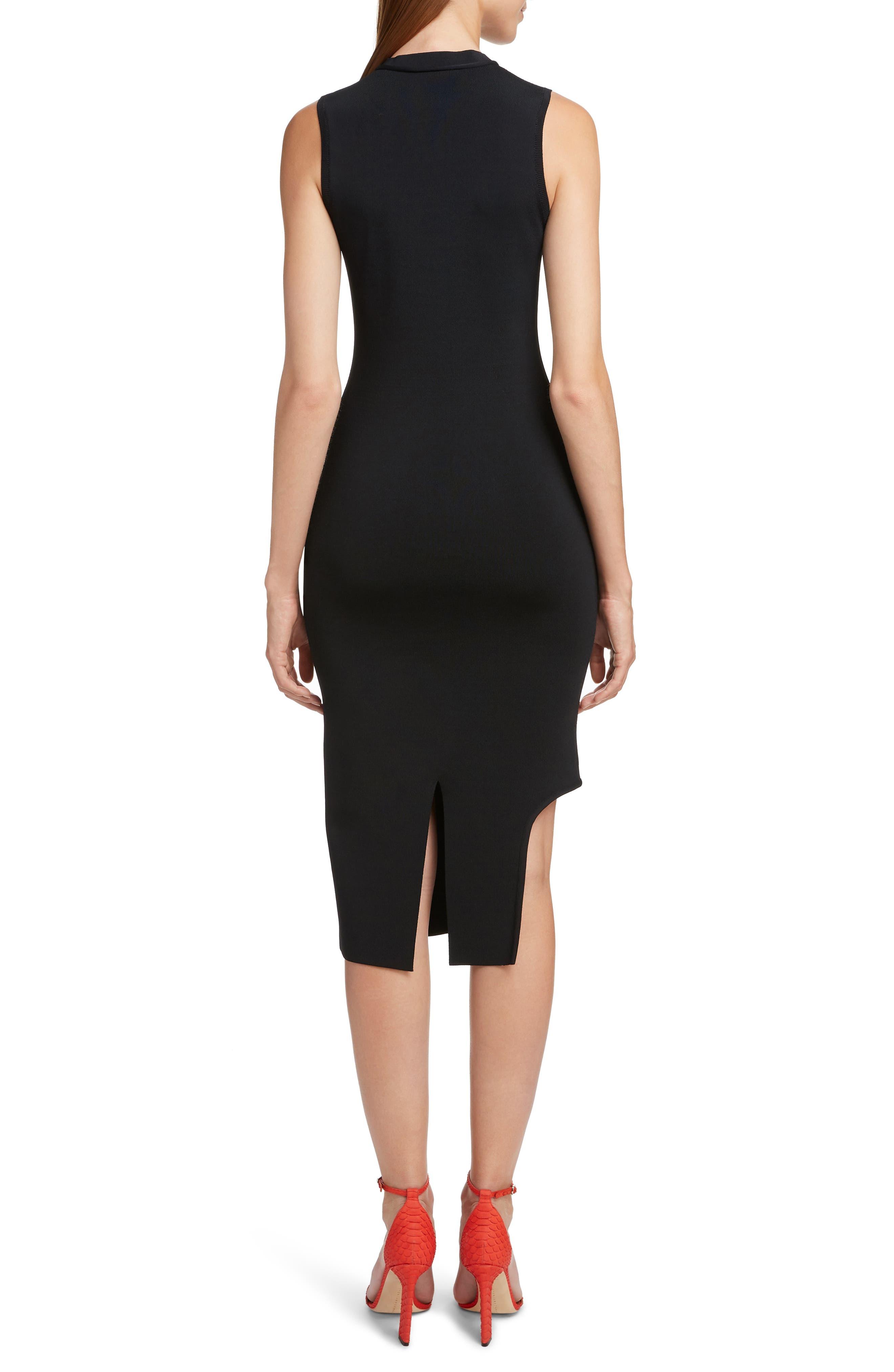 VICTORIA BECKHAM, Cutout Knit Dress, Alternate thumbnail 2, color, BLACK