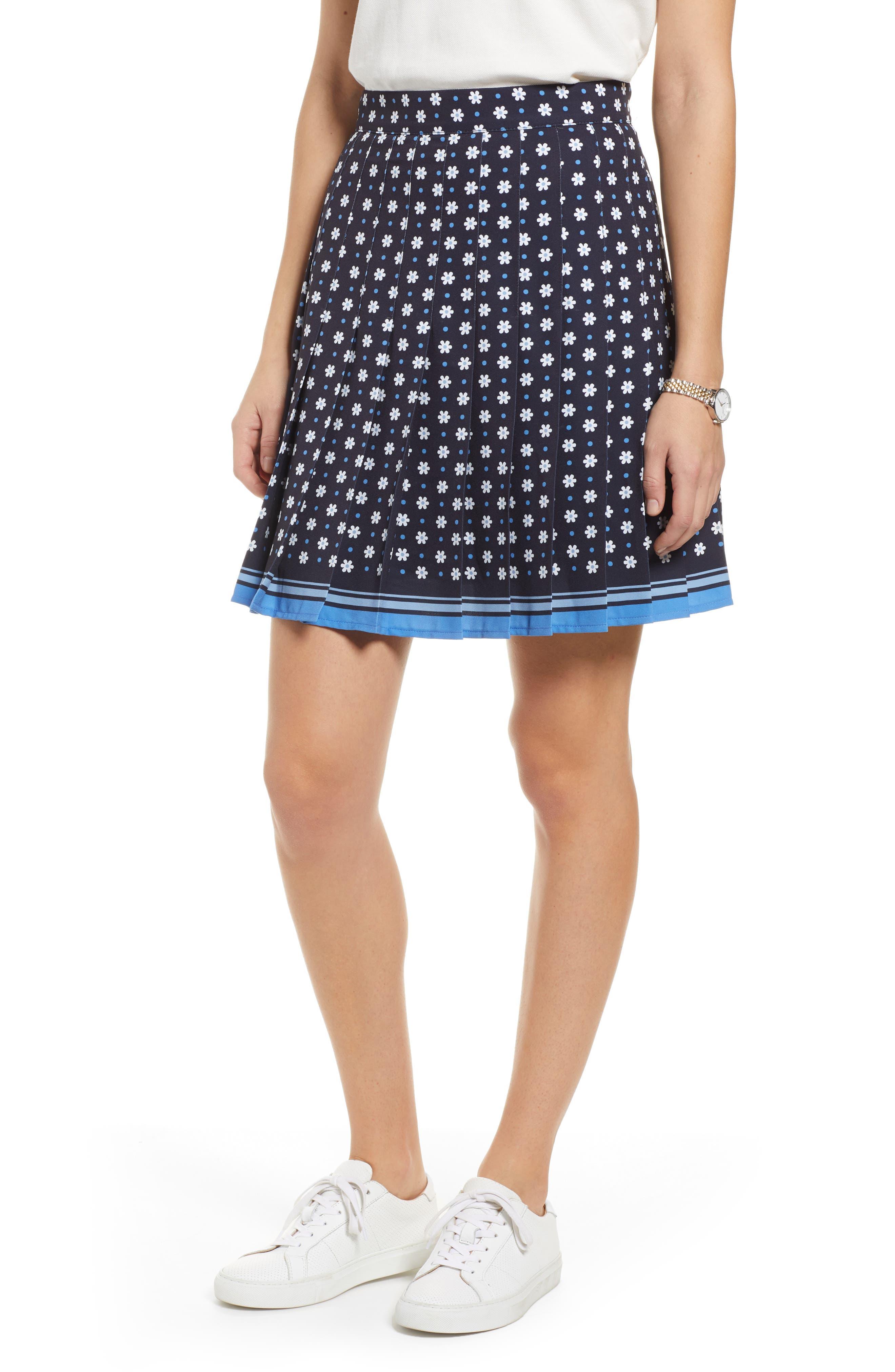 1901 Pleated Tennis Skirt, Main, color, NAVY NIGHT DAISY DOT