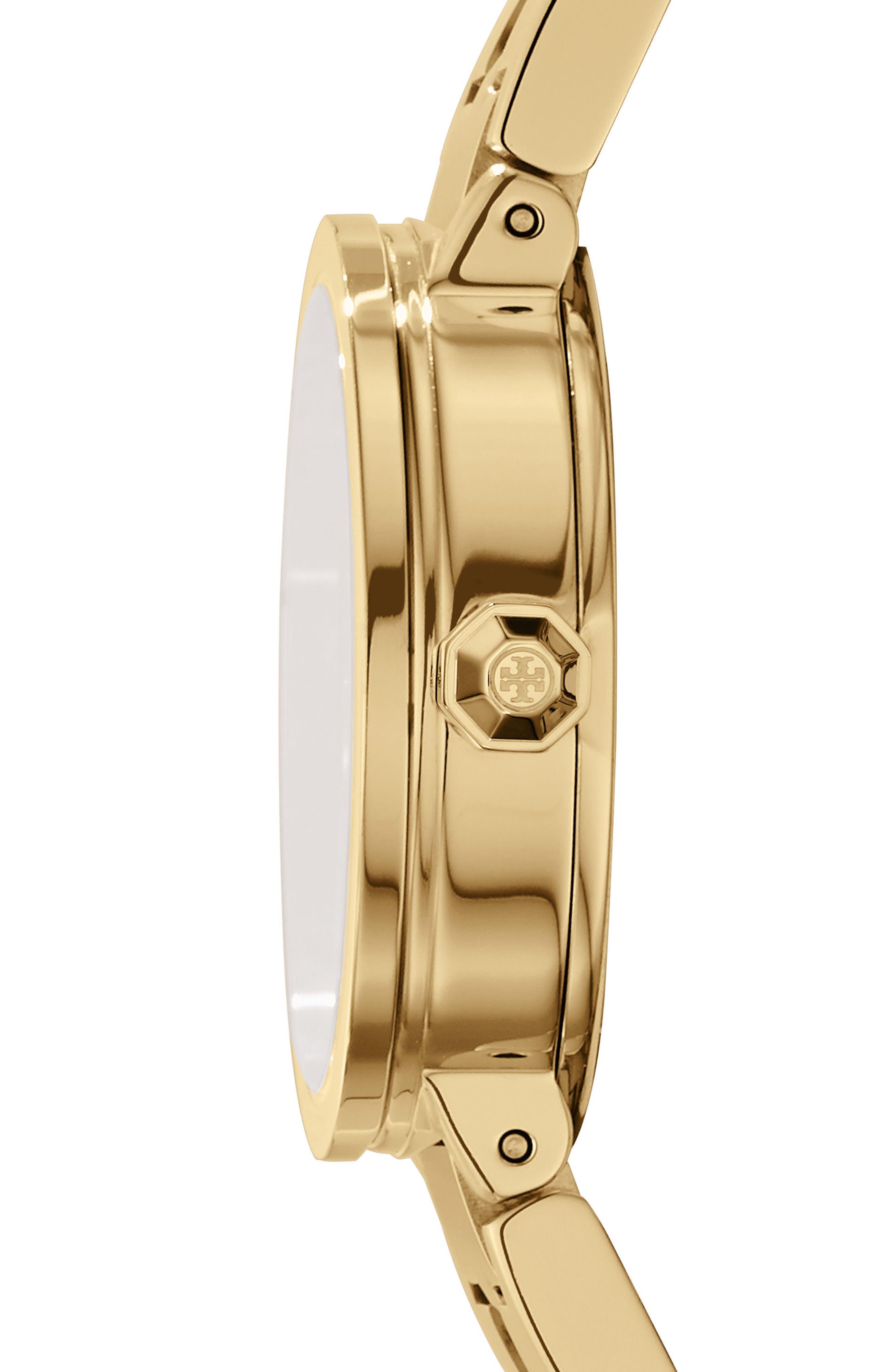 TORY BURCH, Reva Logo Dial Bracelet Watch, 28mm, Alternate thumbnail 2, color, GOLD/ IVORY/ GOLD