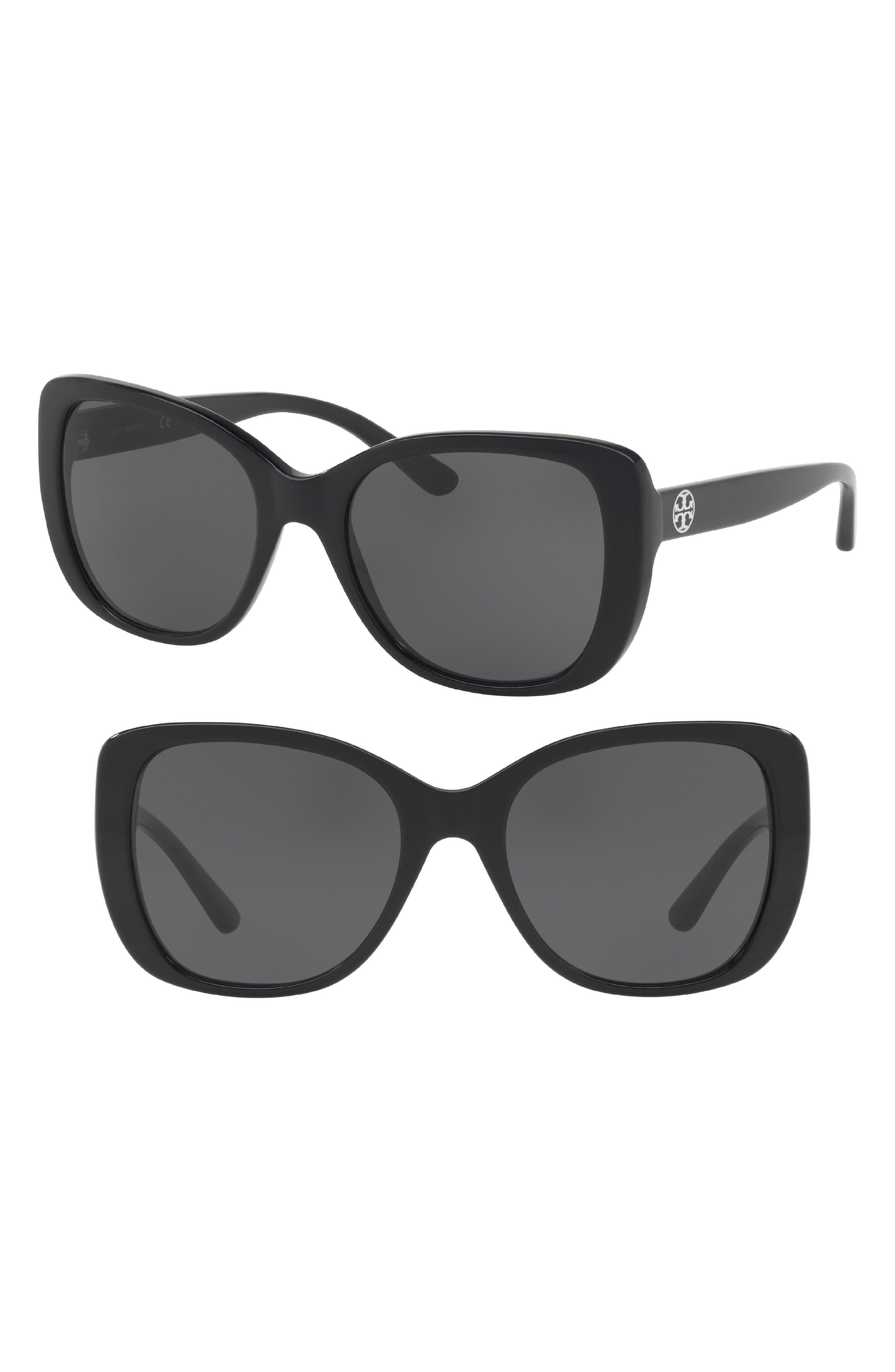TORY BURCH 53mm Rectangle Sunglasses, Main, color, BLACK