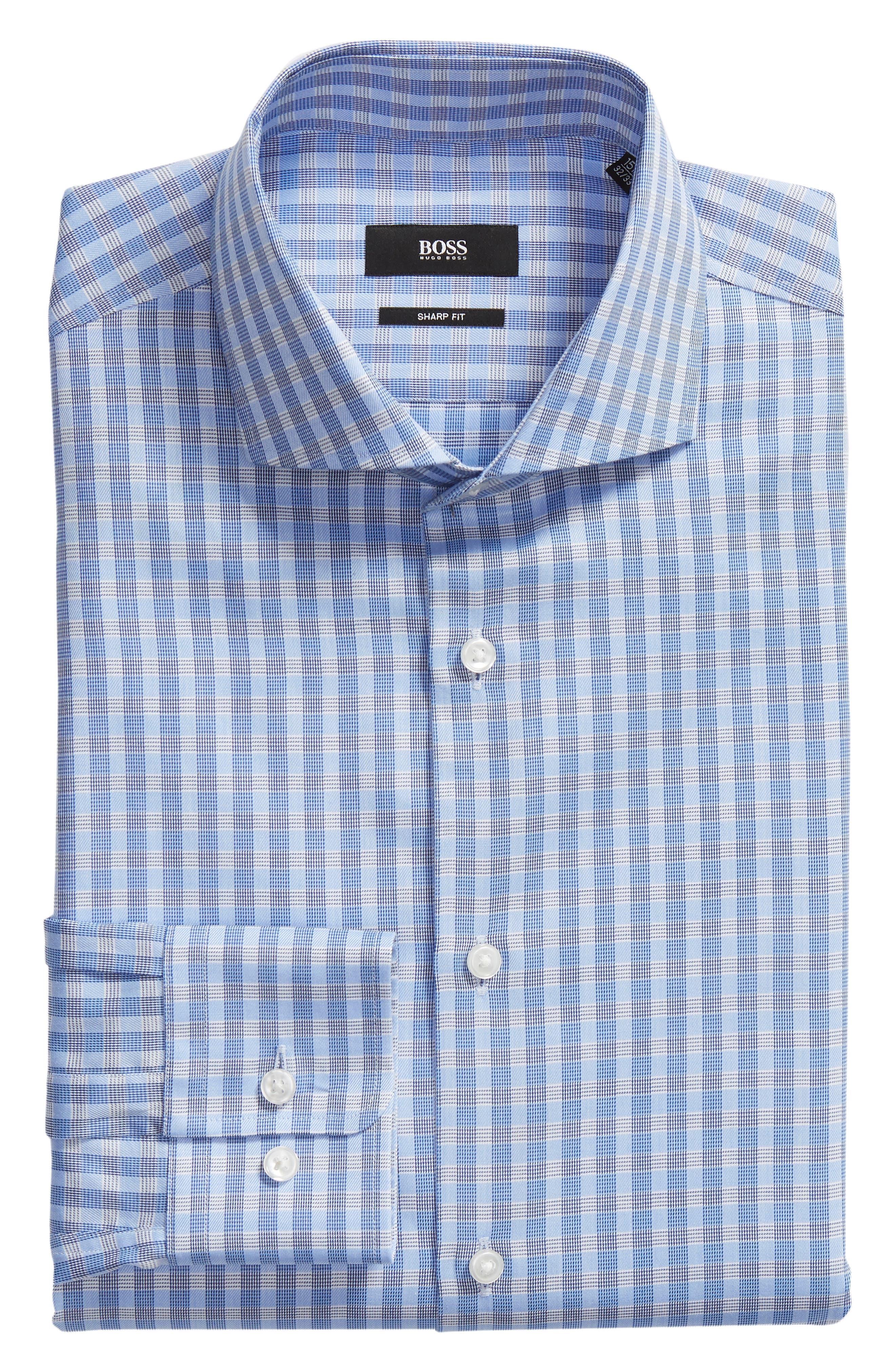 BOSS, Mark Sharp Fit Check Dress Shirt, Alternate thumbnail 5, color, BLUE