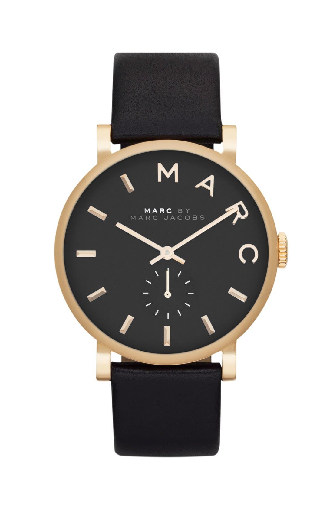 MARC JACOBS, 'Baker' Leather Strap Watch, 37mm, Alternate thumbnail 2, color, 001