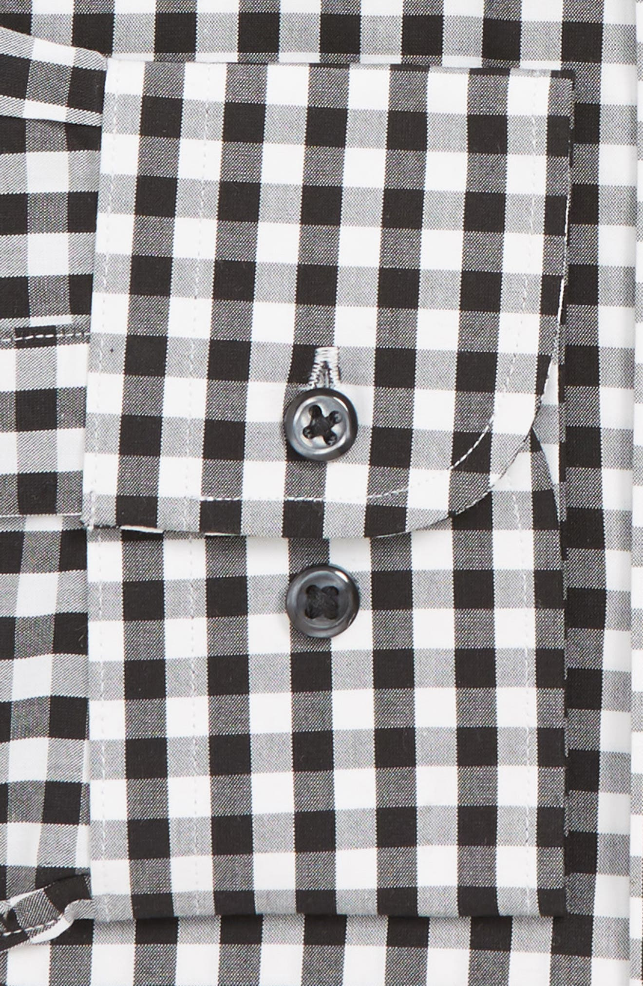 NORDSTROM MEN'S SHOP, Tech-Smart Traditional Fit Stretch Check Dress Shirt, Alternate thumbnail 6, color, BLACK ROCK