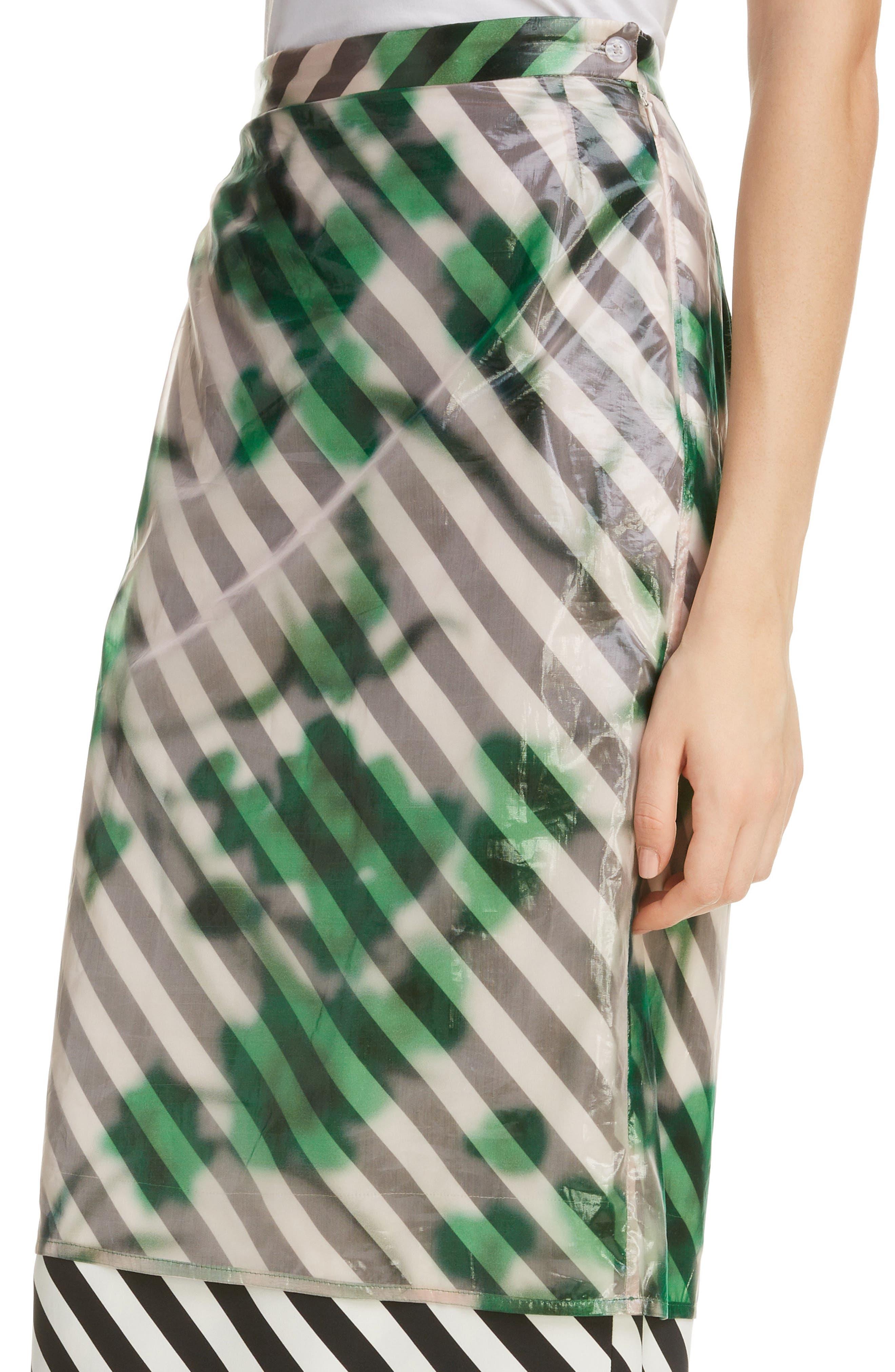 DRIES VAN NOTEN, Dires Van Noten Painted Overlay Silk Blend Pencil Skirt, Alternate thumbnail 4, color, 604-GREEN