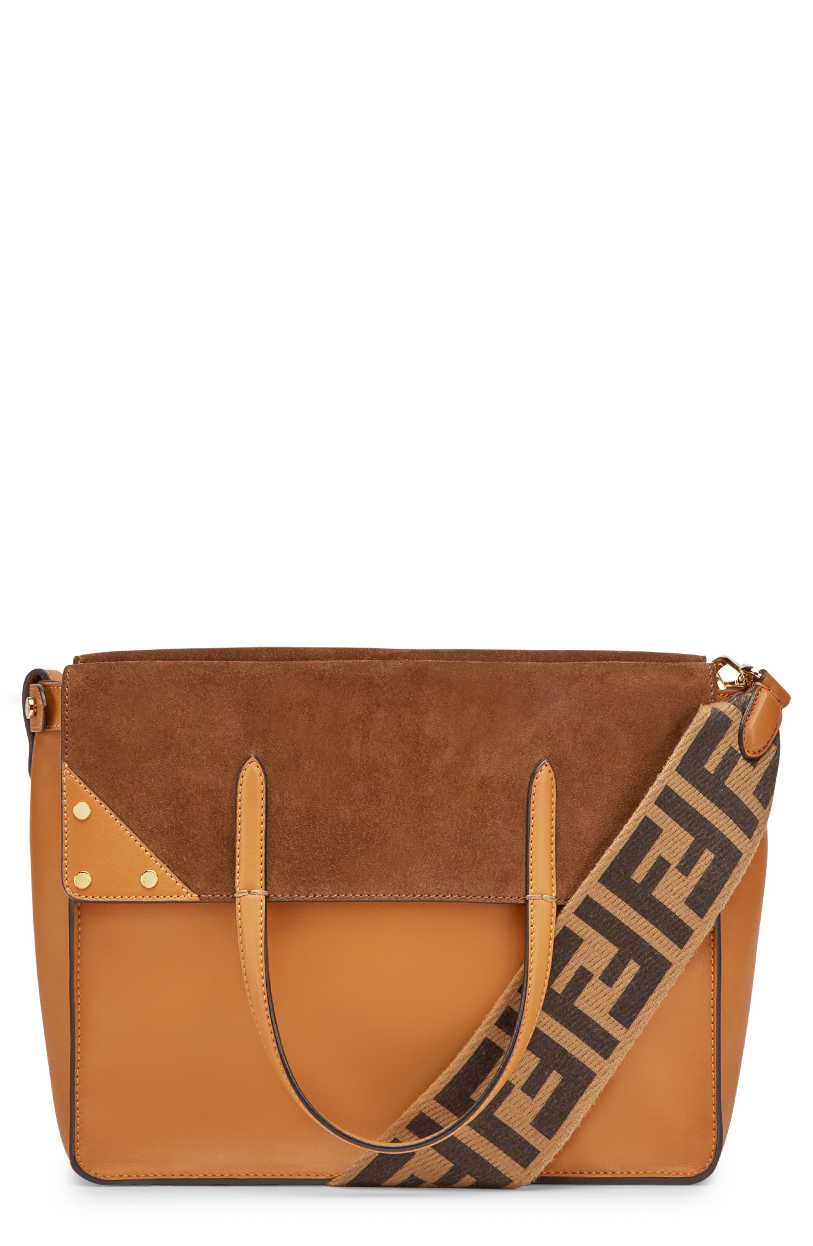FENDI Flip Leather & Suede Tote, Main, color, MARRON/ NOCCIOLA
