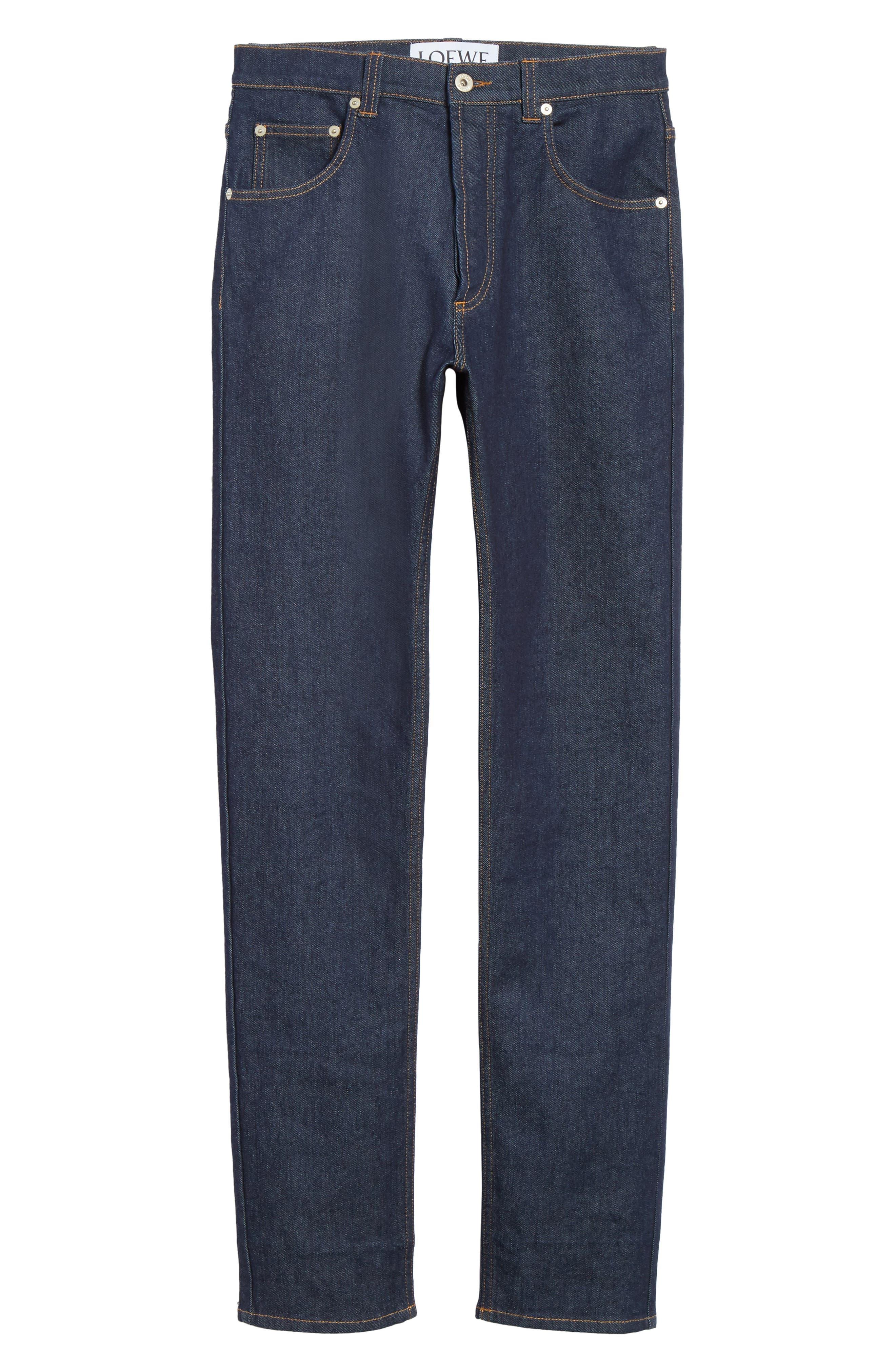 LOEWE, Skinny Fit Jeans, Alternate thumbnail 6, color, BLUE DENIM