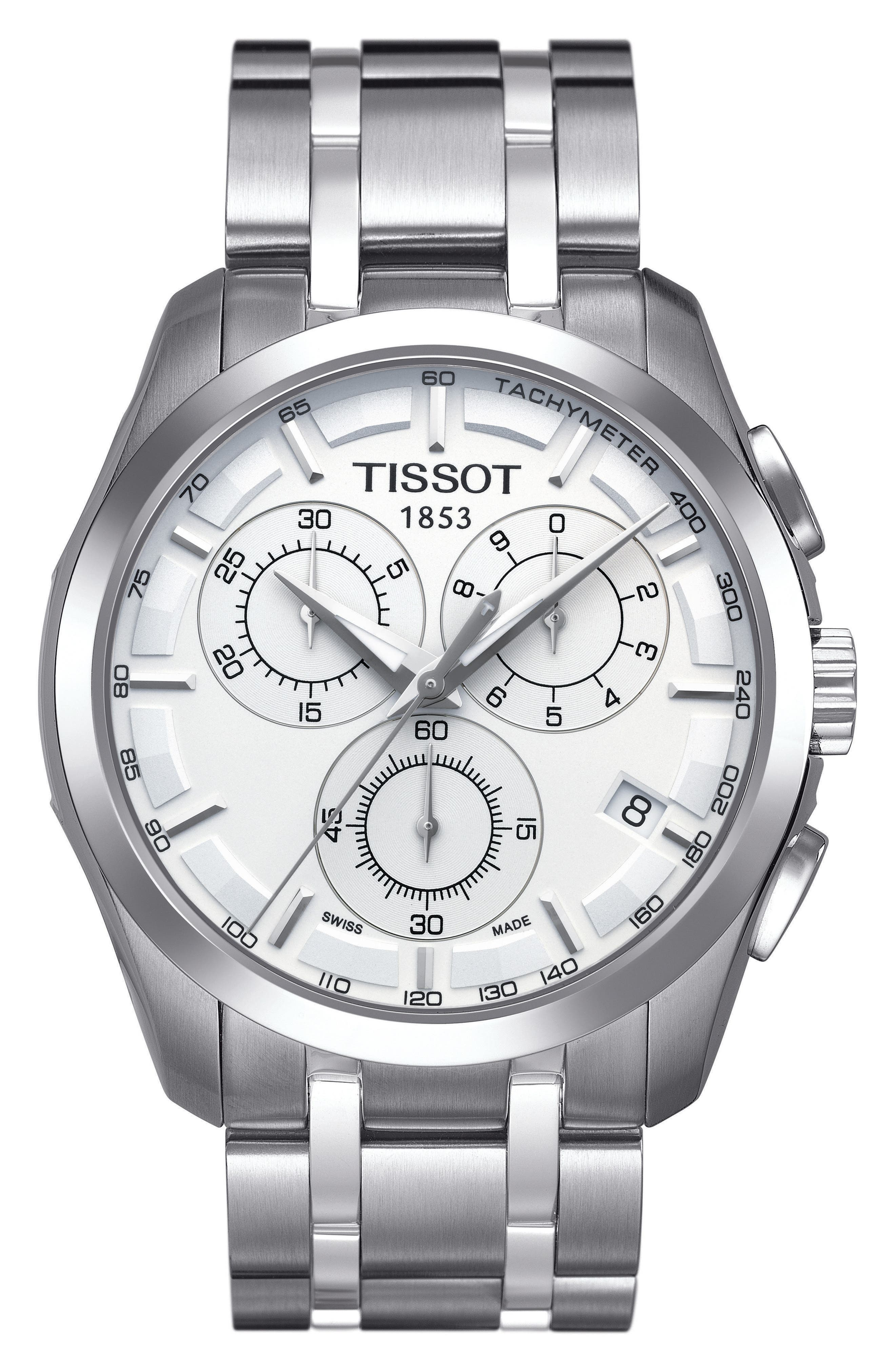 TISSOT Couturier Chronograph Bracelet Watch, 41mm, Main, color, SILVER/ WHITE/ SILVER