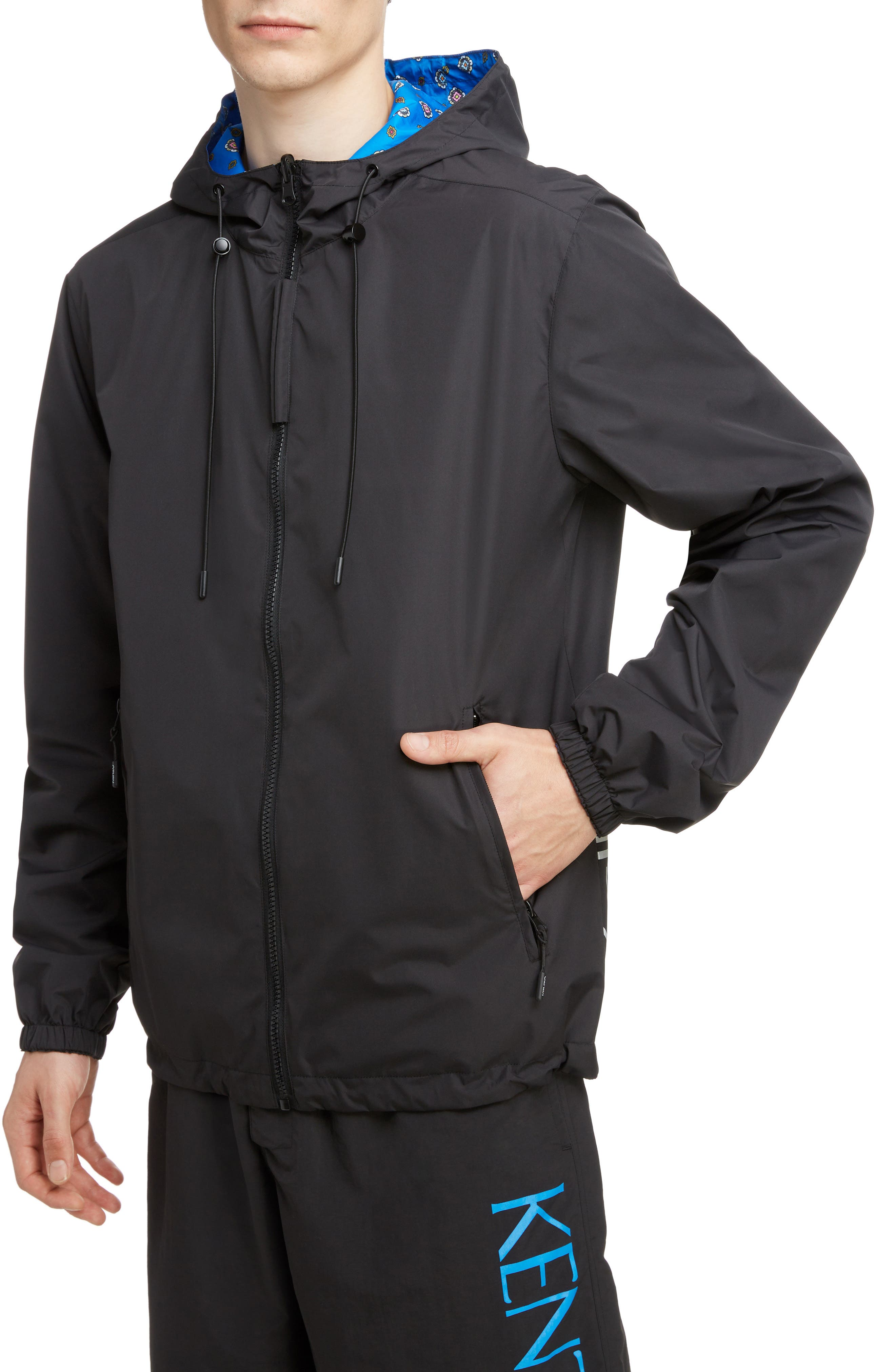 KENZO, Reversible Hooded Windbreaker, Alternate thumbnail 5, color, BLACK
