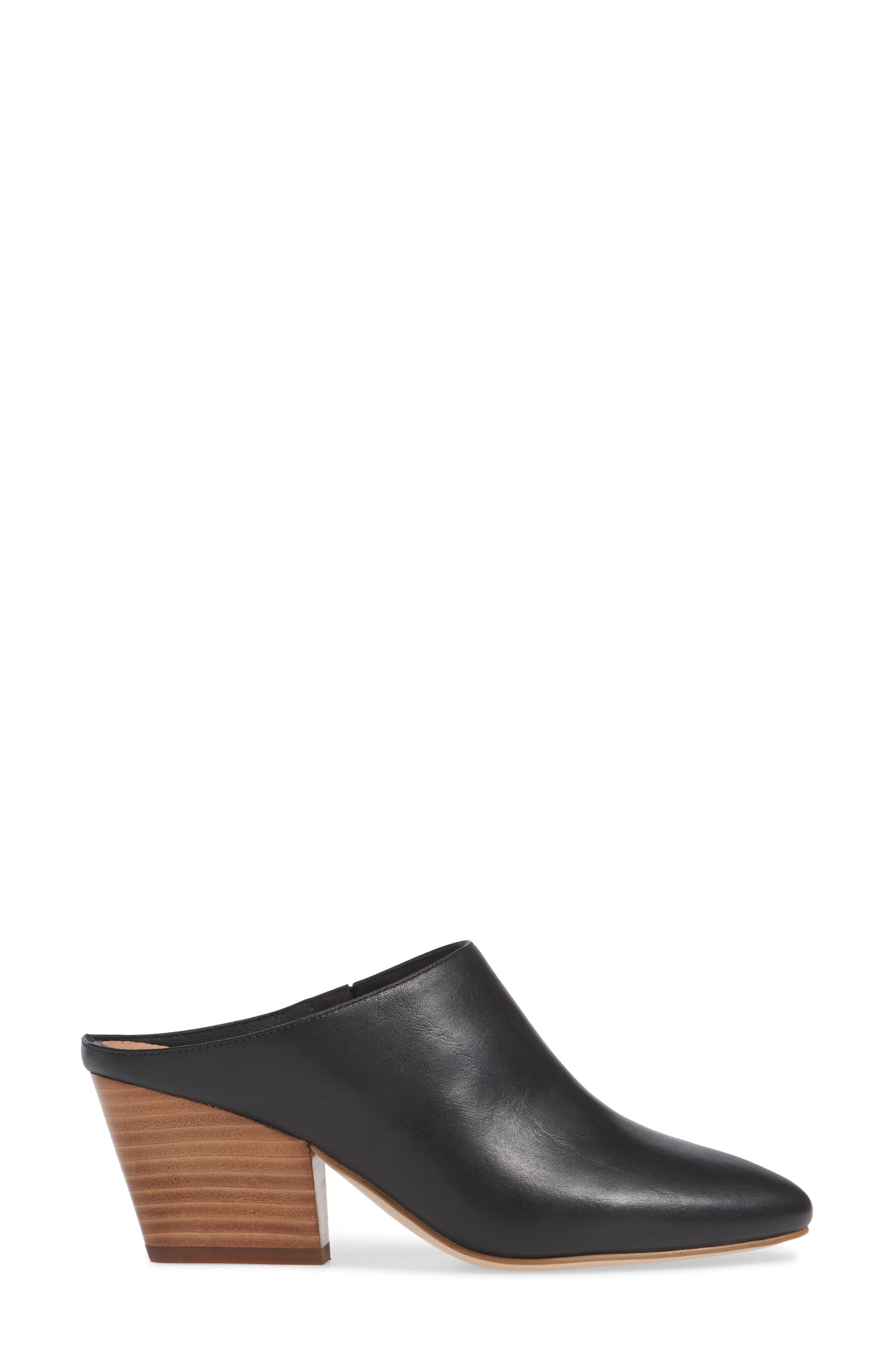 HALOGEN<SUP>®</SUP>, Brielle Mule, Alternate thumbnail 3, color, BLACK LEATHER