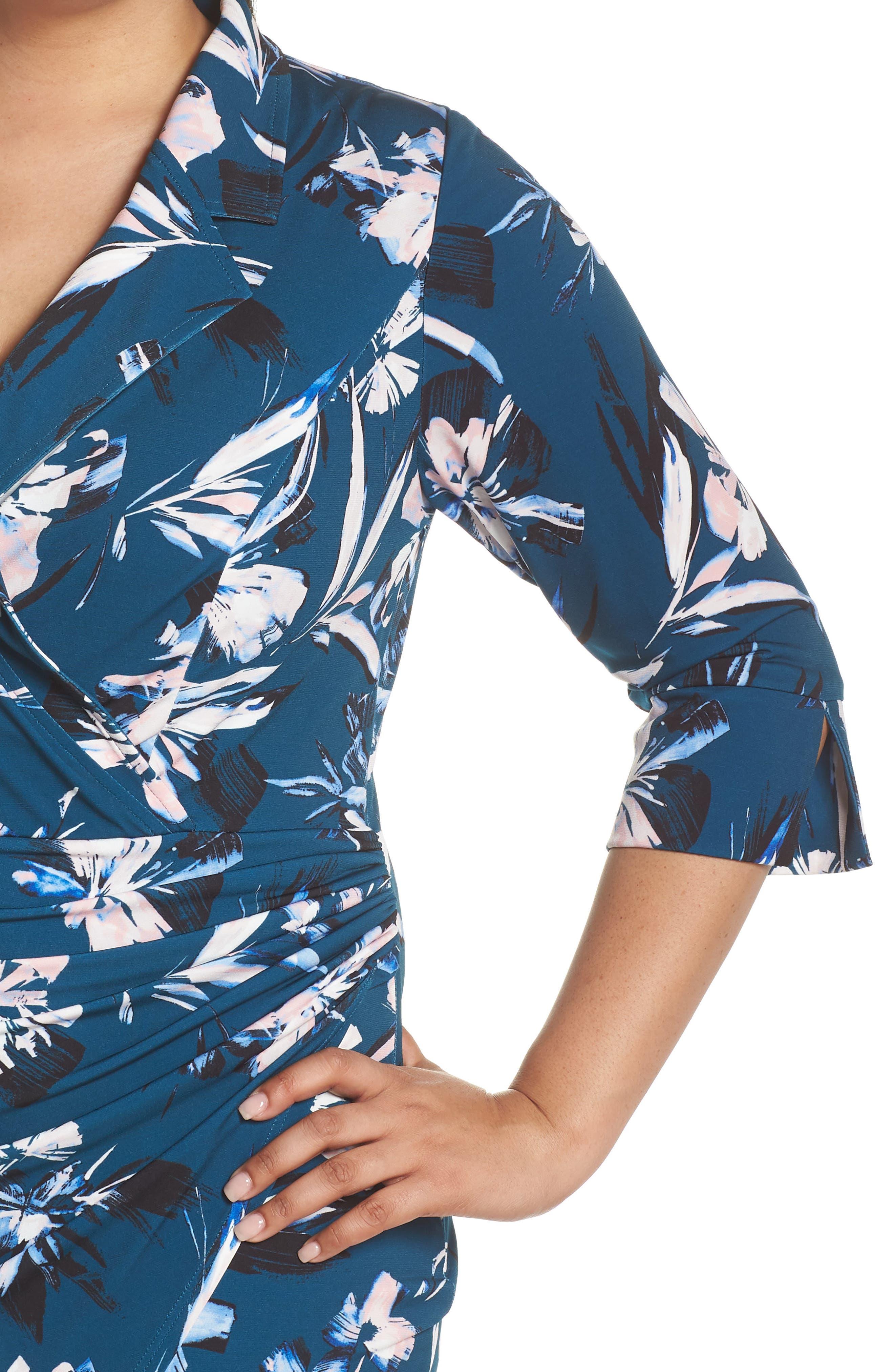 ELIZA J, Faux Wrap Floral Shirtdress, Alternate thumbnail 5, color, GREEN