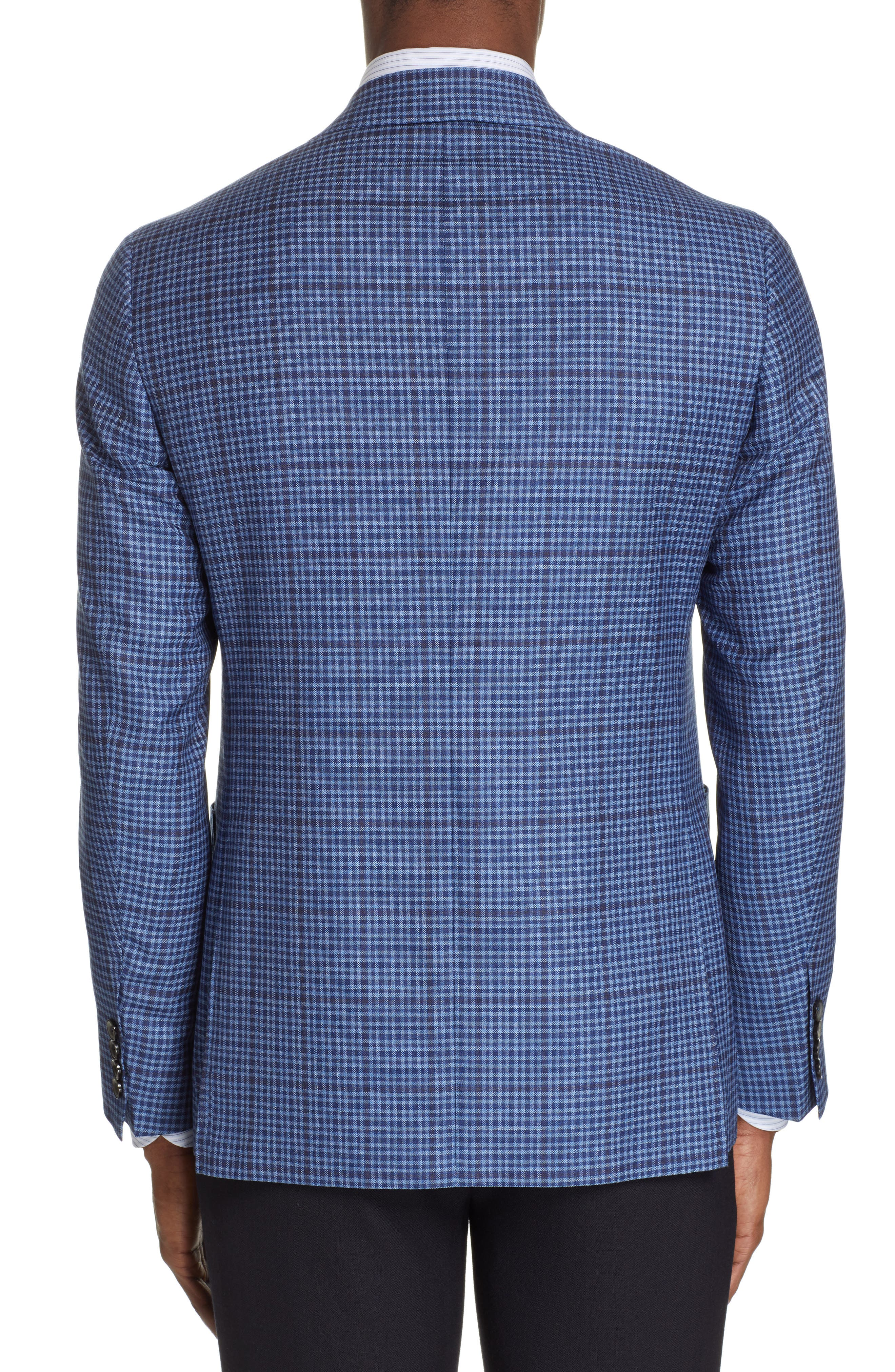CANALI, Kei Classic Fit Check Wool Sport Coat, Alternate thumbnail 2, color, BLUE