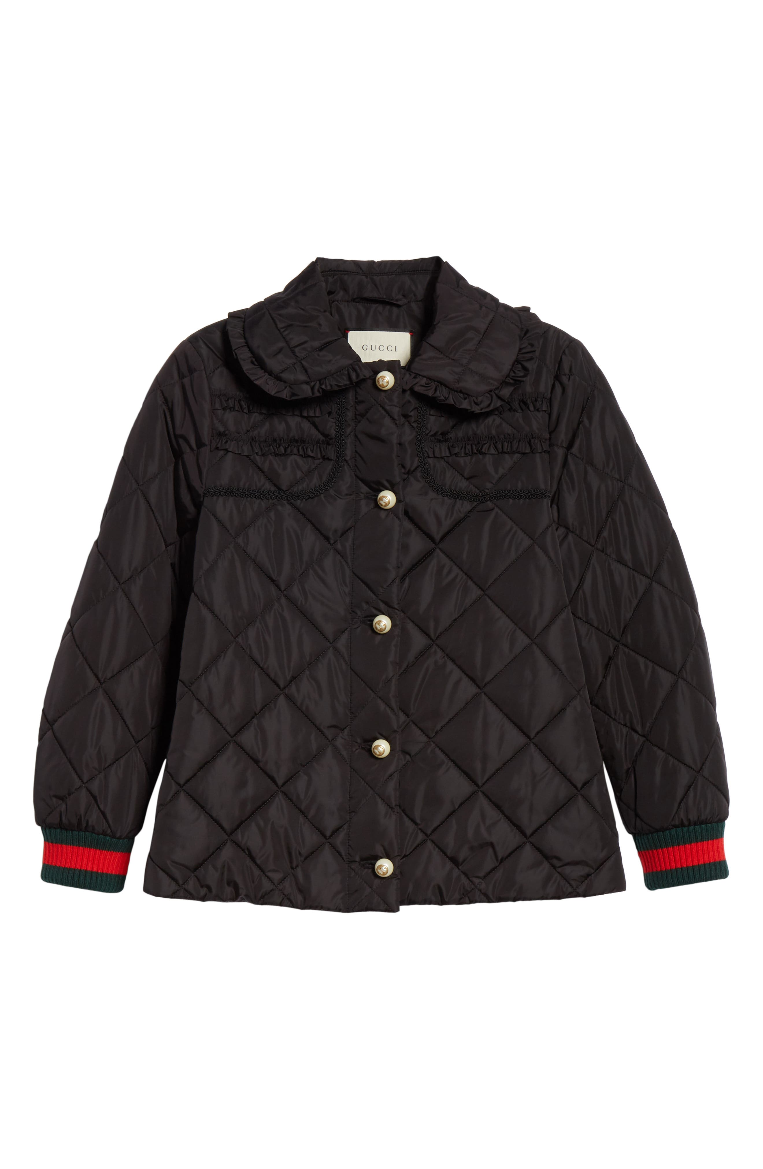 GUCCI, Ruffle Trim Quilted Caban, Alternate thumbnail 5, color, NERO