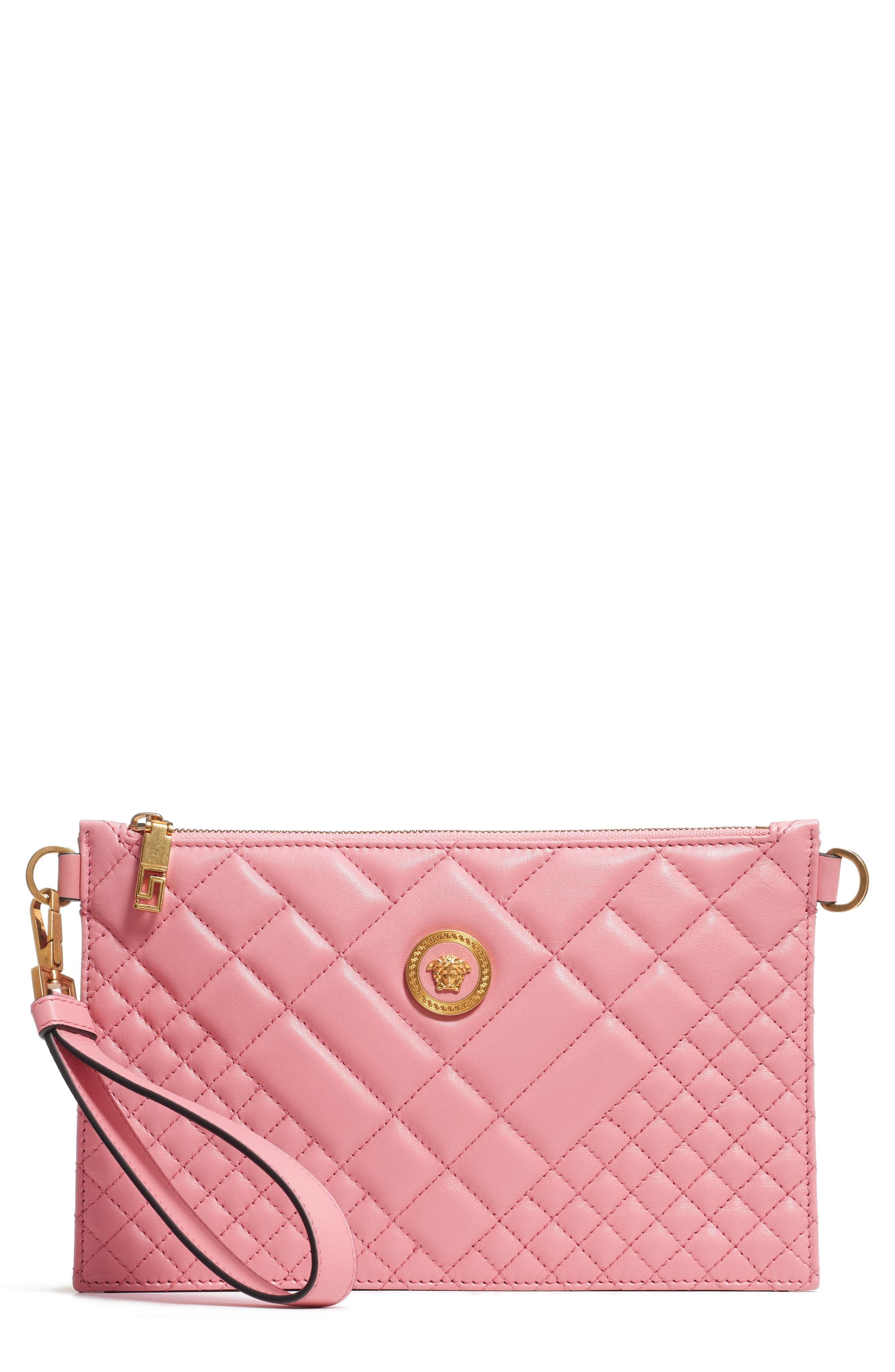 VERSACE, Tribute Icon Quilted Leather Pouch, Main thumbnail 1, color, SHELL PINK/ TRIBUTE GOLD