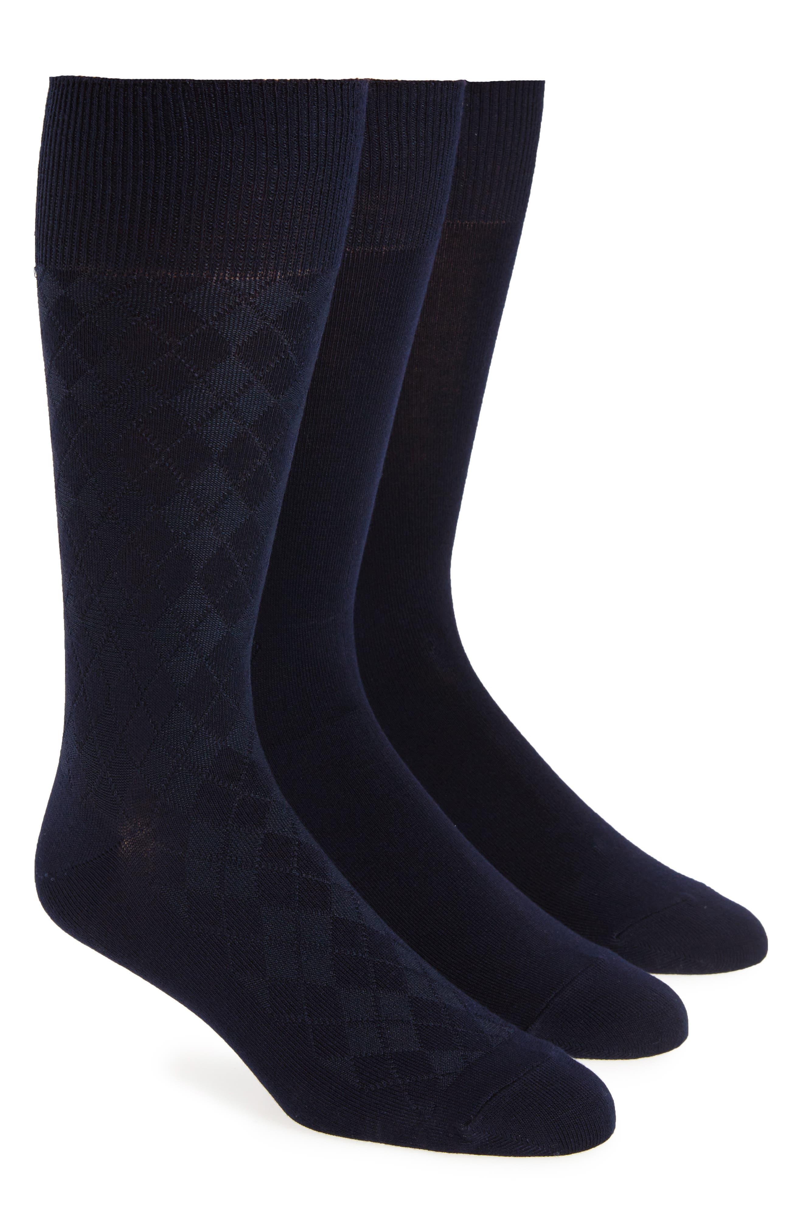 CALVIN KLEIN 3-Pack Socks, Main, color, NAVY