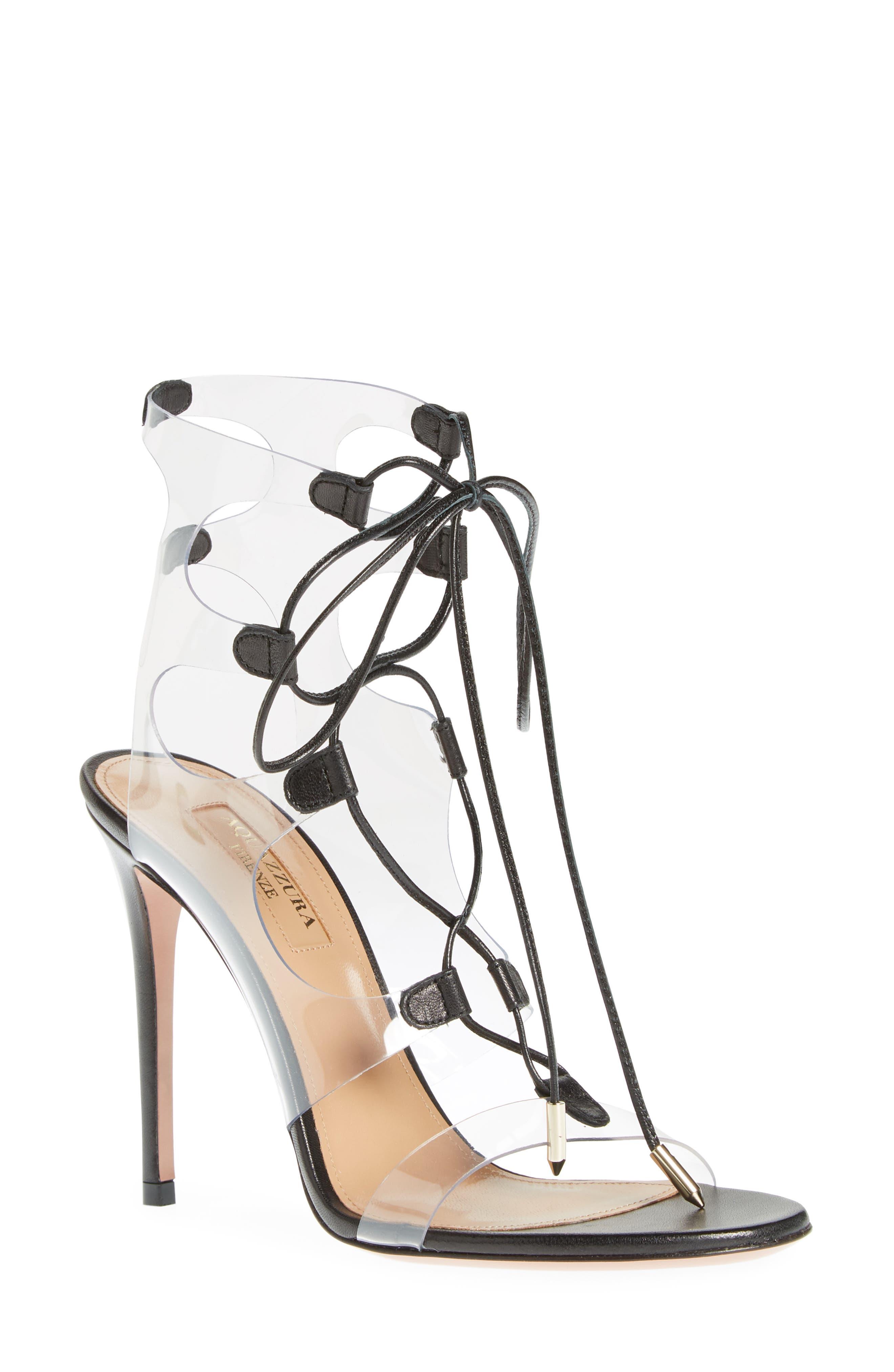 AQUAZZURA, Milos PVC Lace-Up Sandal, Main thumbnail 1, color, BLACK