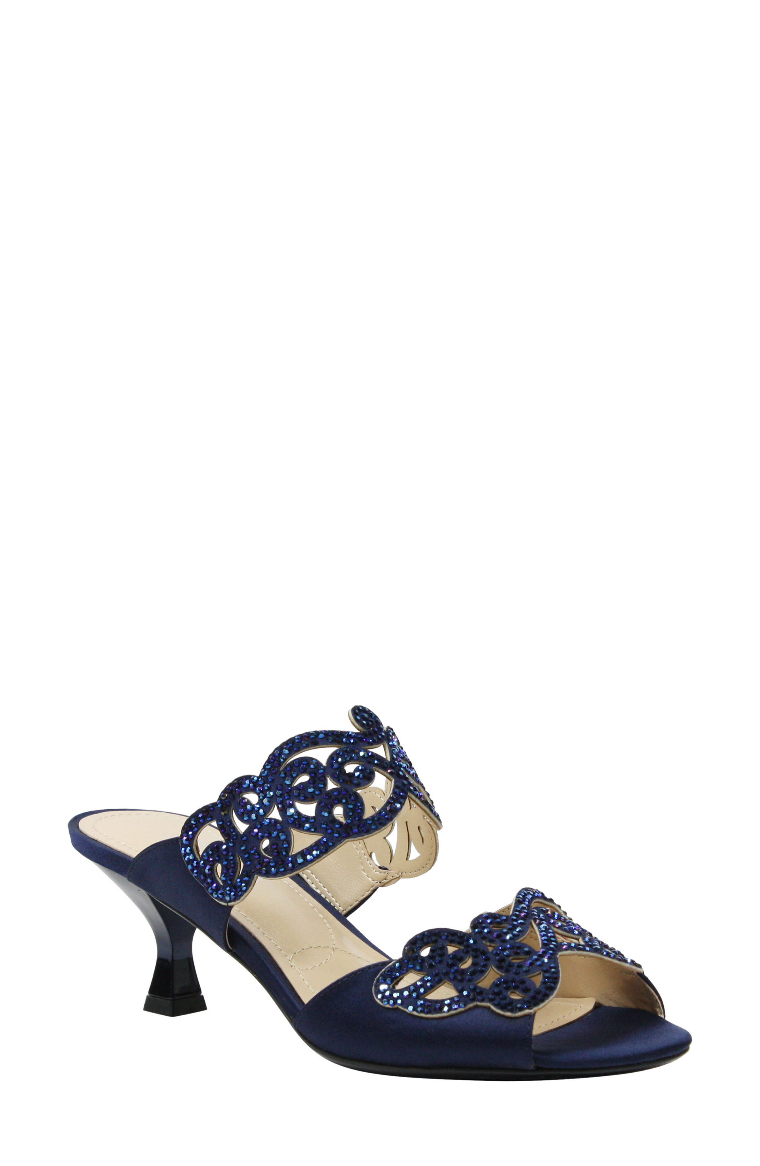 J. RENEÉ 'Francie' Evening Sandal, Main, color, NAVY FABRIC