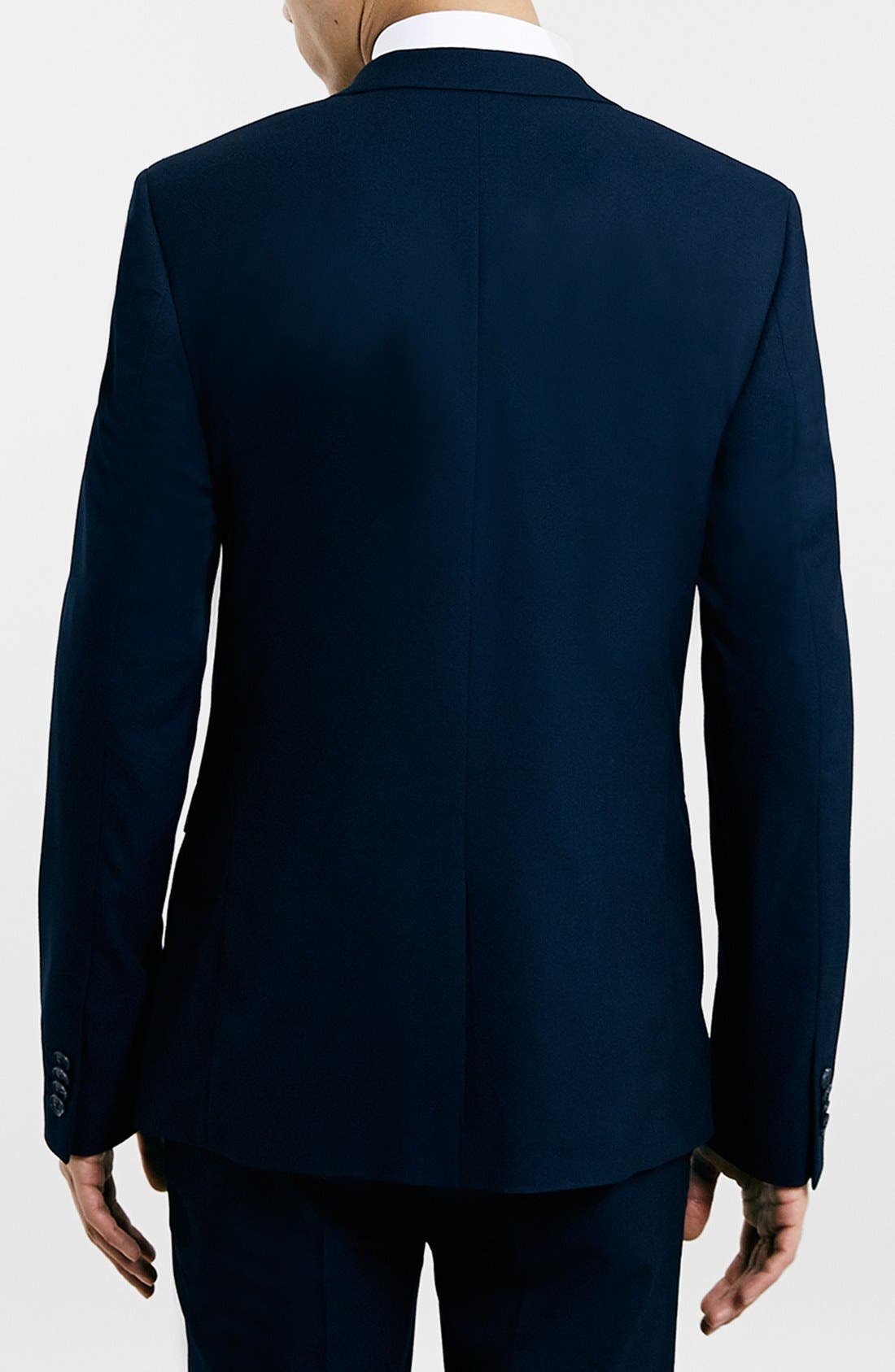 TOPMAN, Navy Textured Skinny Fit Suit Jacket, Alternate thumbnail 2, color, 410