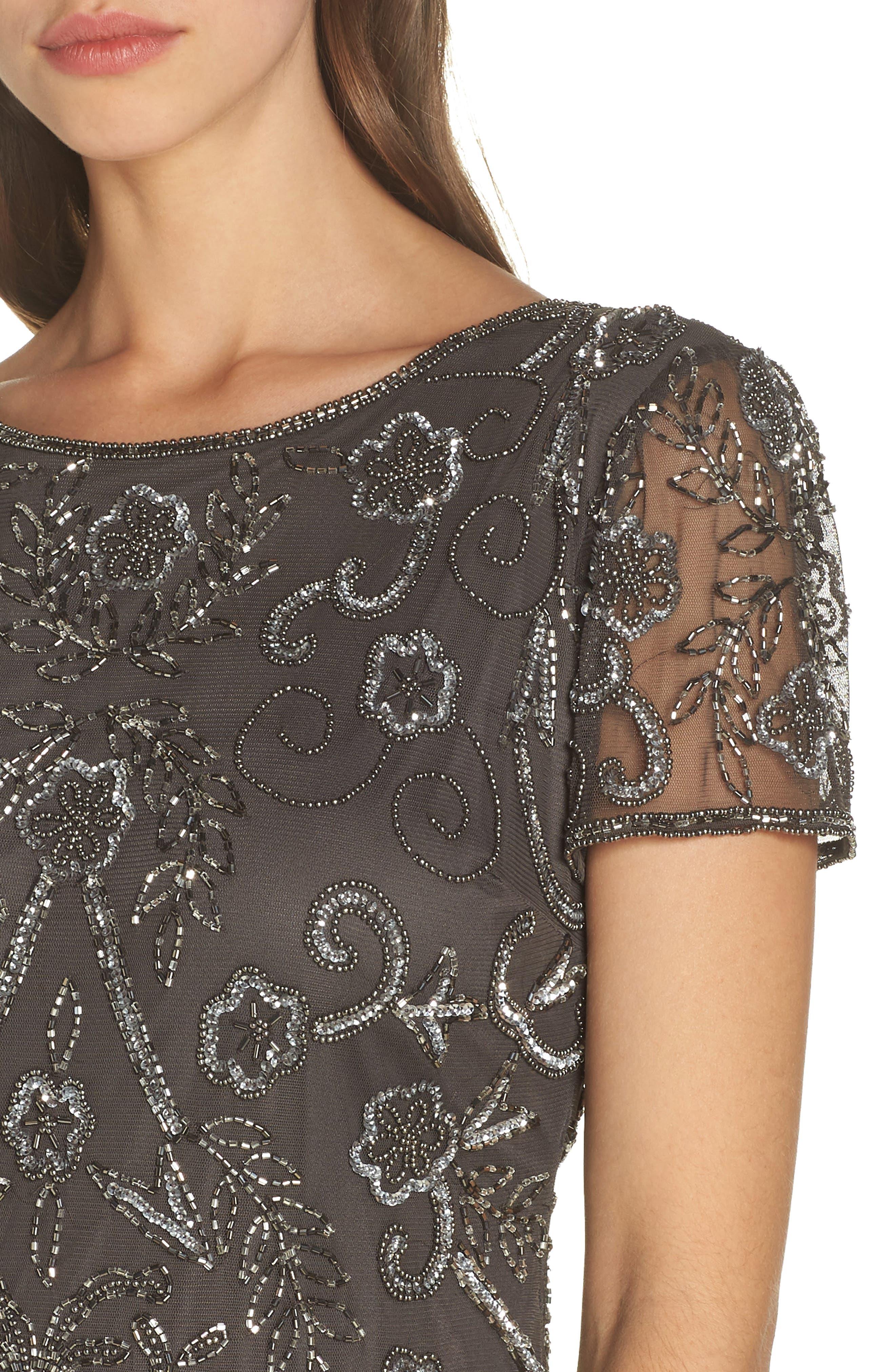 PISARRO NIGHTS, Embellished Mesh Evening Dress, Alternate thumbnail 5, color, SLIVER / GREY