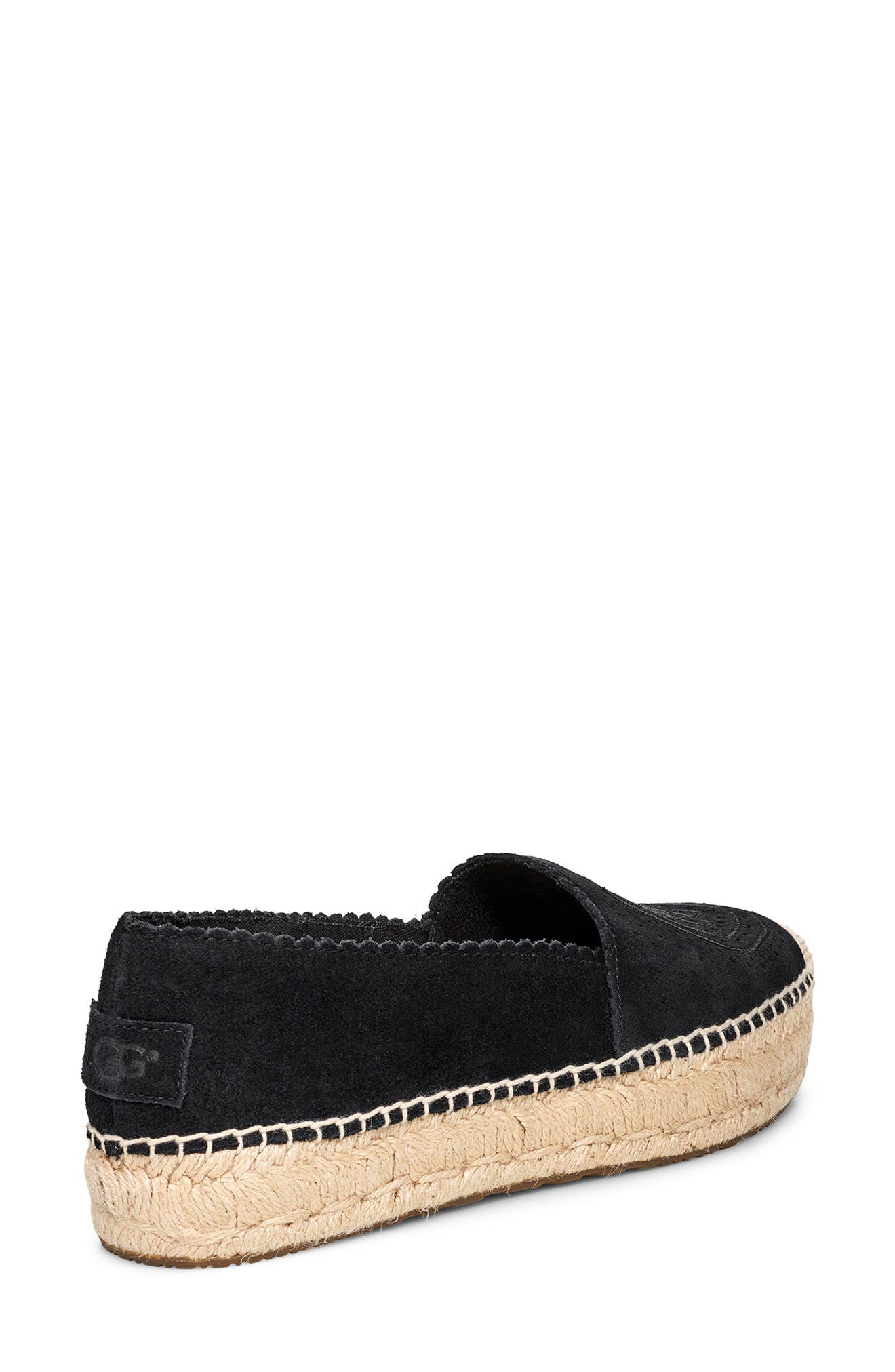 UGG<SUP>®</SUP>, Heidi Perforated Espadrille, Alternate thumbnail 2, color, BLACK SUEDE