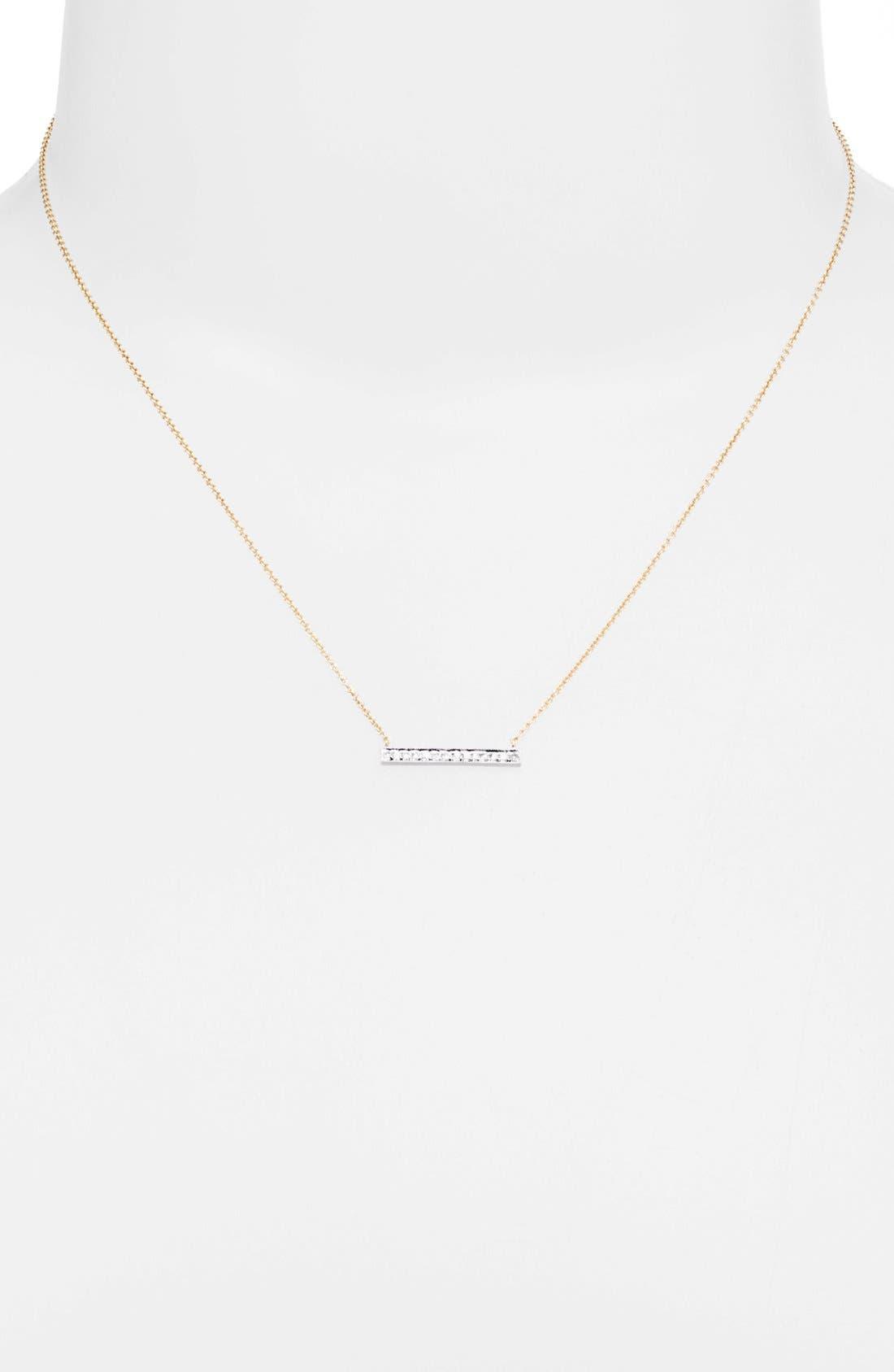 DANA REBECCA DESIGNS, 'Sylvie Rose' Medium Diamond Bar Pendant Necklace, Alternate thumbnail 2, color, YELLOW GOLD