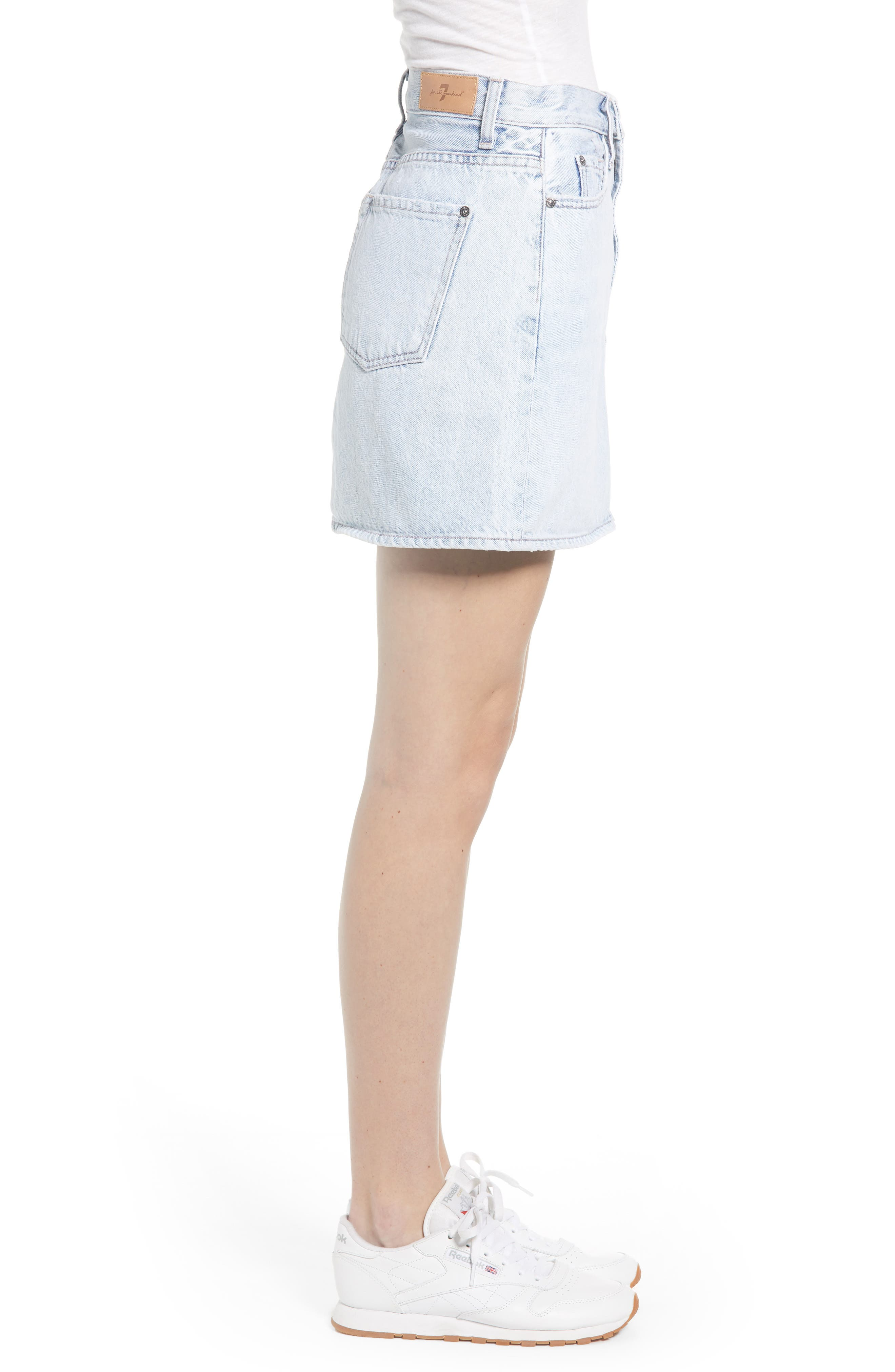 7 FOR ALL MANKIND<SUP>®</SUP>, Miniskirt, Alternate thumbnail 4, color, CLOUD BLUE