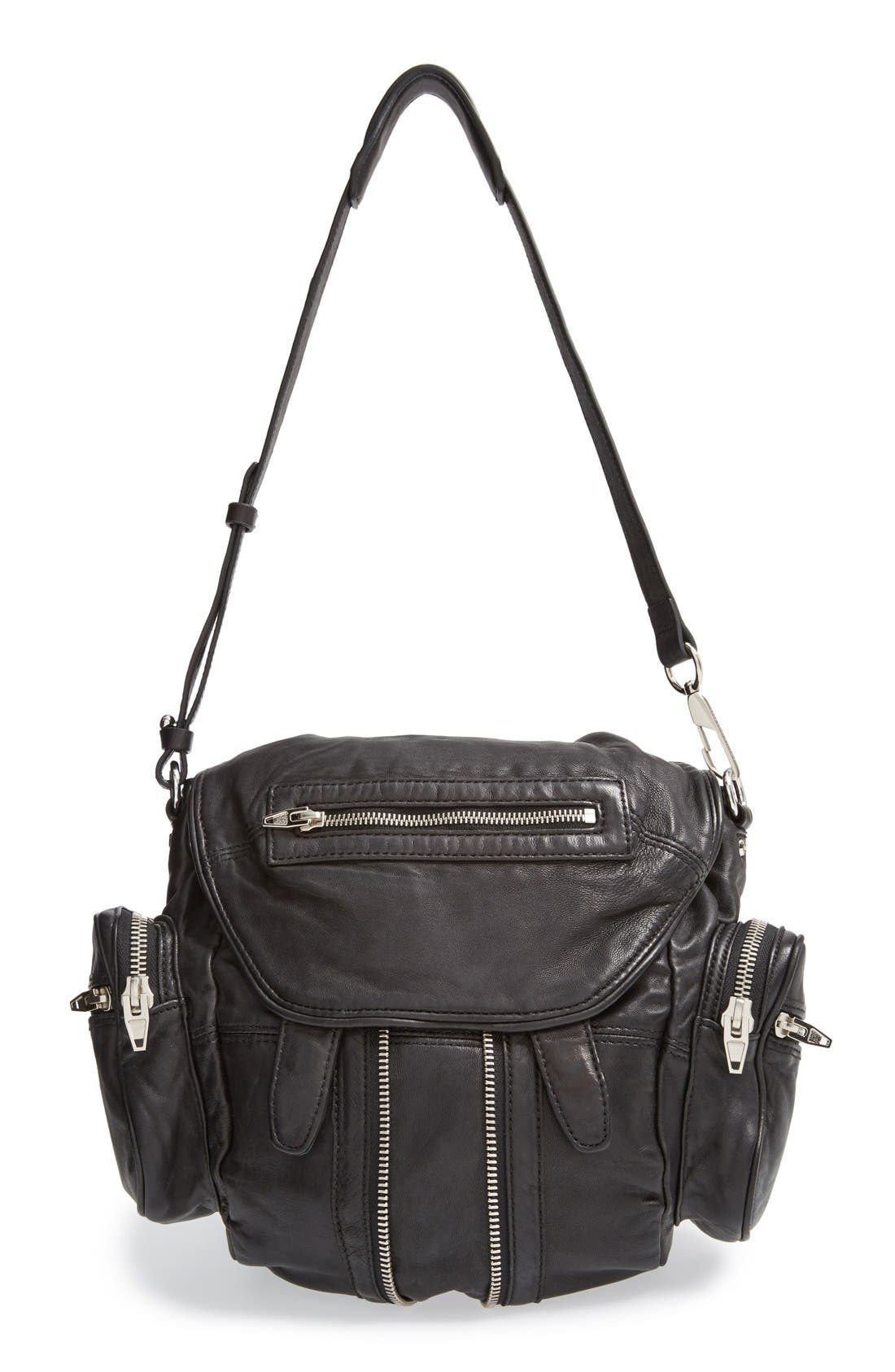 ALEXANDER WANG, 'Mini Marti' Leather Backpack, Main thumbnail 1, color, BLACK SLVR HRDR