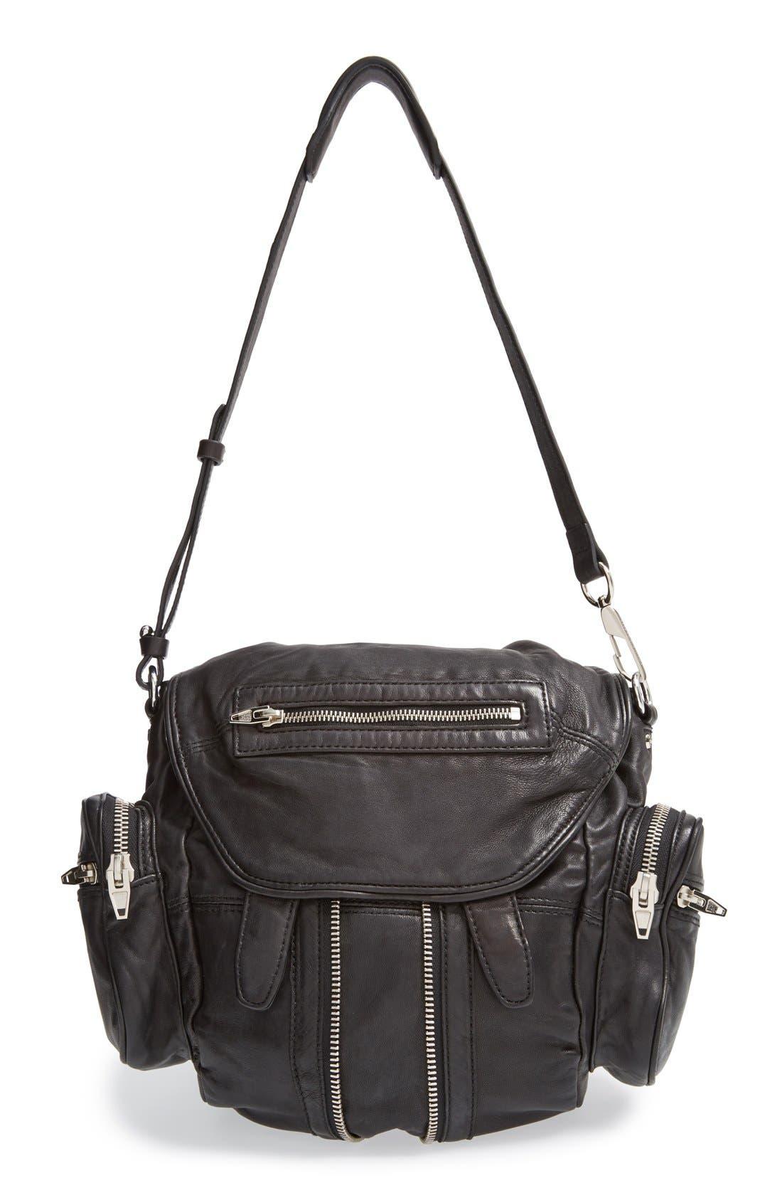 ALEXANDER WANG 'Mini Marti' Leather Backpack, Main, color, BLACK SLVR HRDR