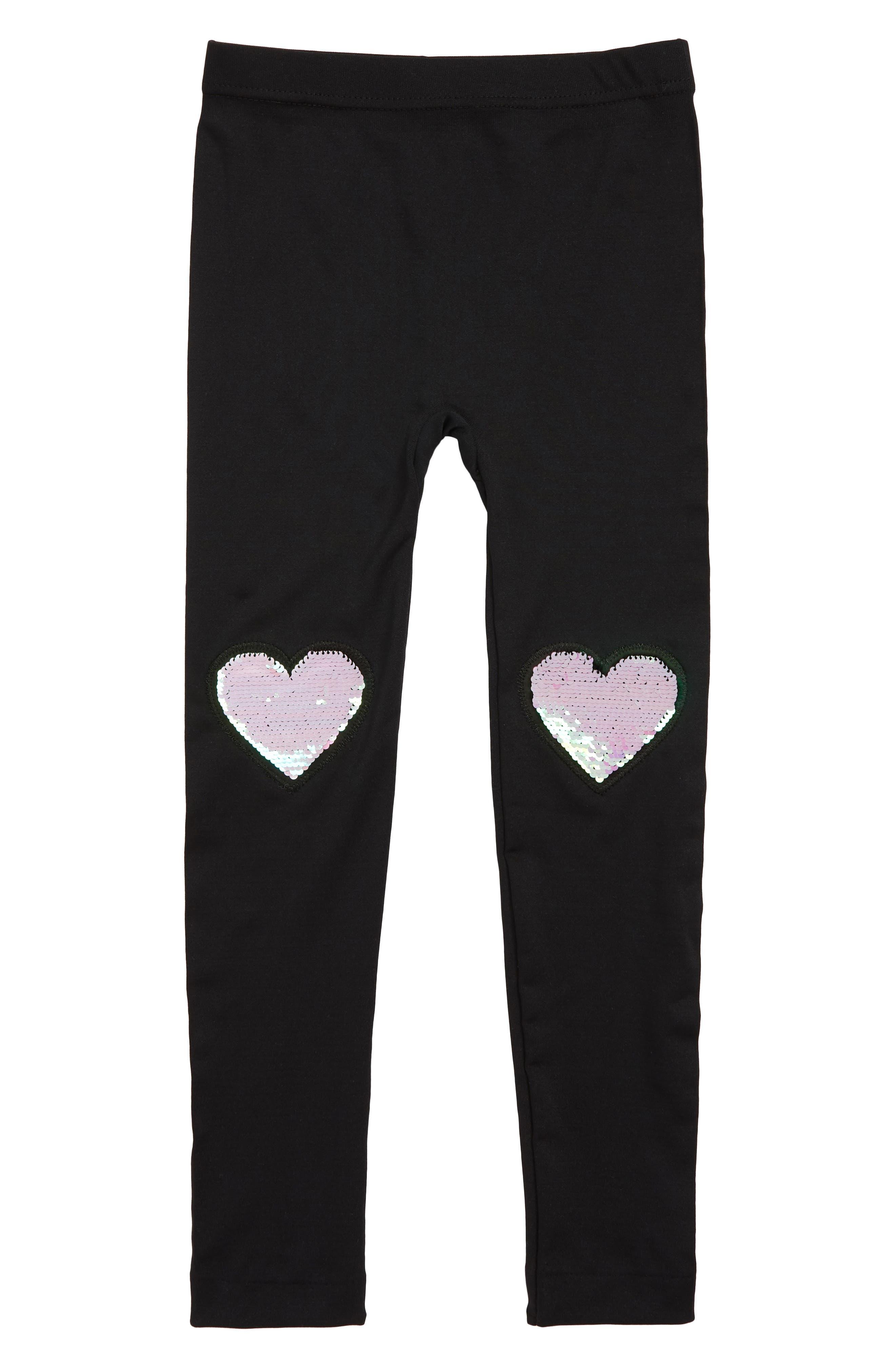 CAPELLI NEW YORK, Hearts Reversible Sequin Leggings, Main thumbnail 1, color, BLACK