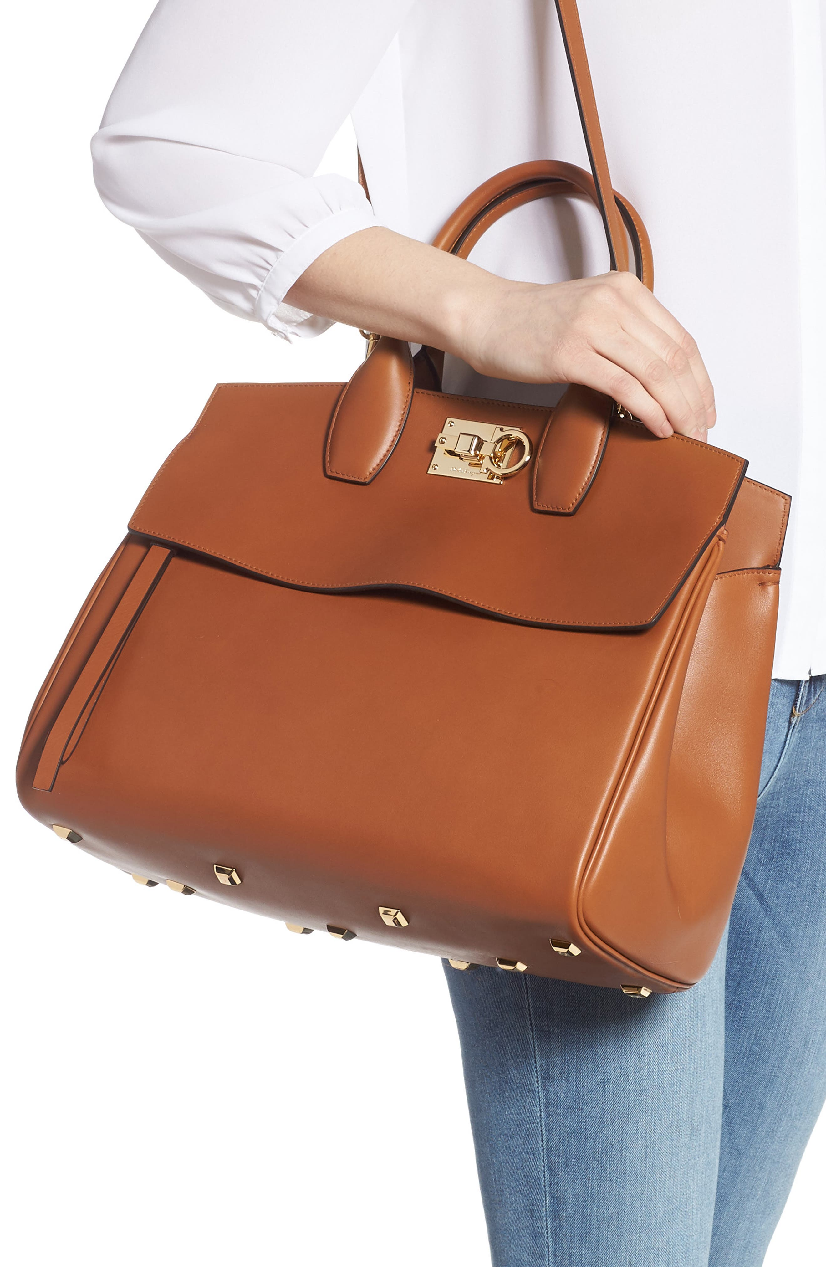 SALVATORE FERRAGAMO, Medium The Studio Calfskin Leather Top Handle Bag, Alternate thumbnail 2, color, SELLA