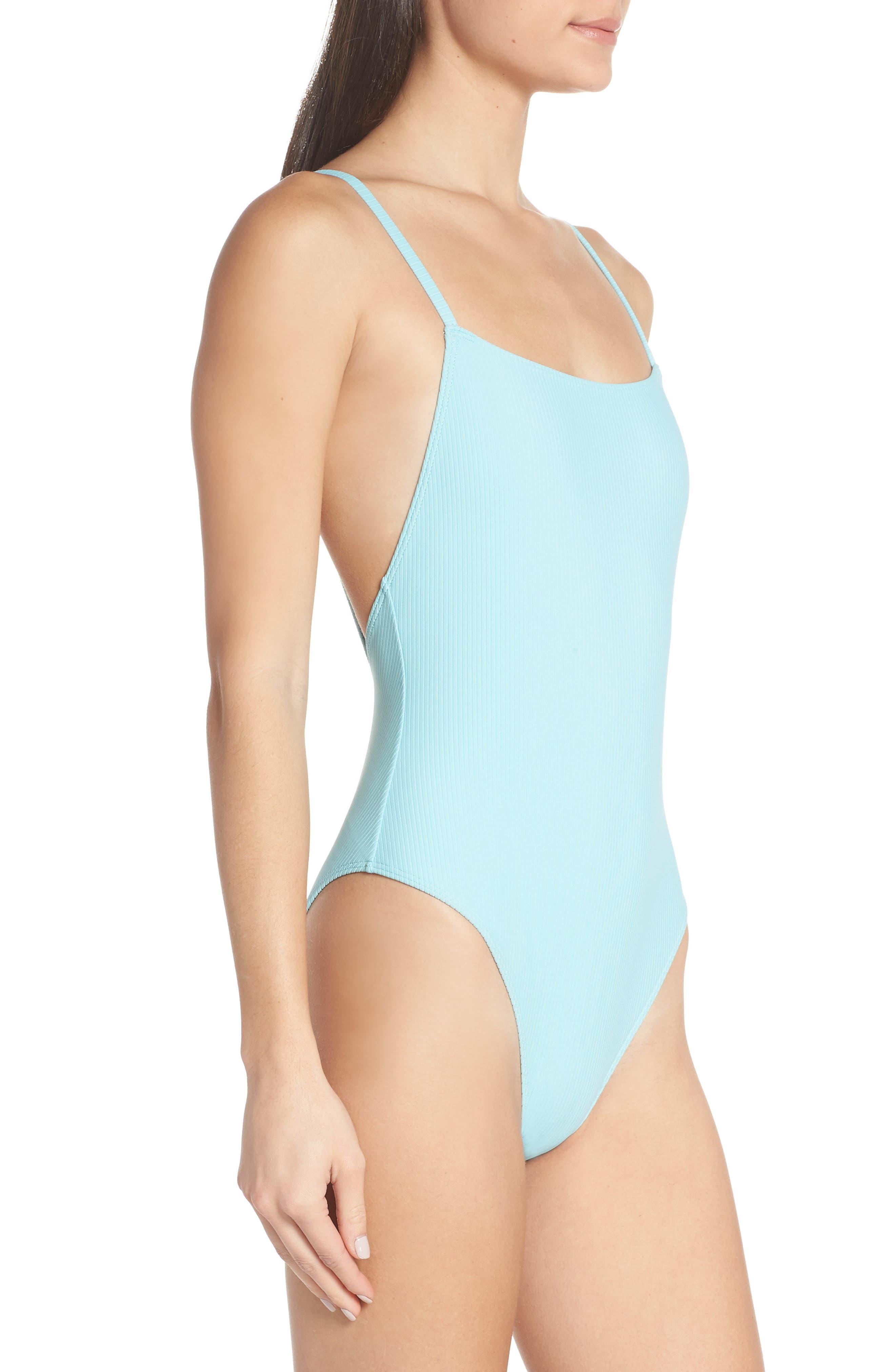 SOMETHING NAVY, Core Ribbed One-Piece Swimsuit, Alternate thumbnail 4, color, BLUE GULF