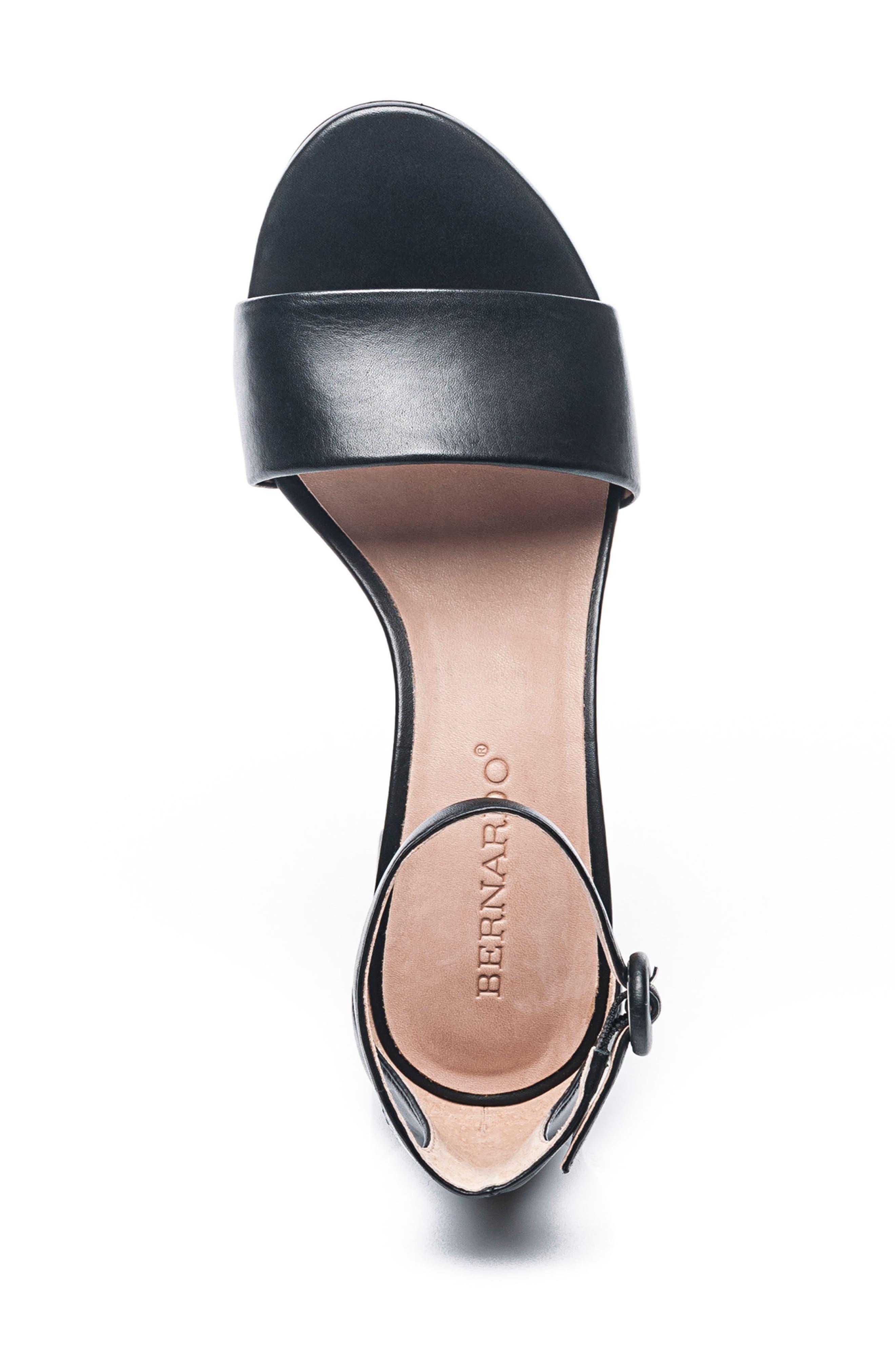BERNARDO, Belinda Ankle Strap Sandal, Alternate thumbnail 5, color, BLACK LEATHER