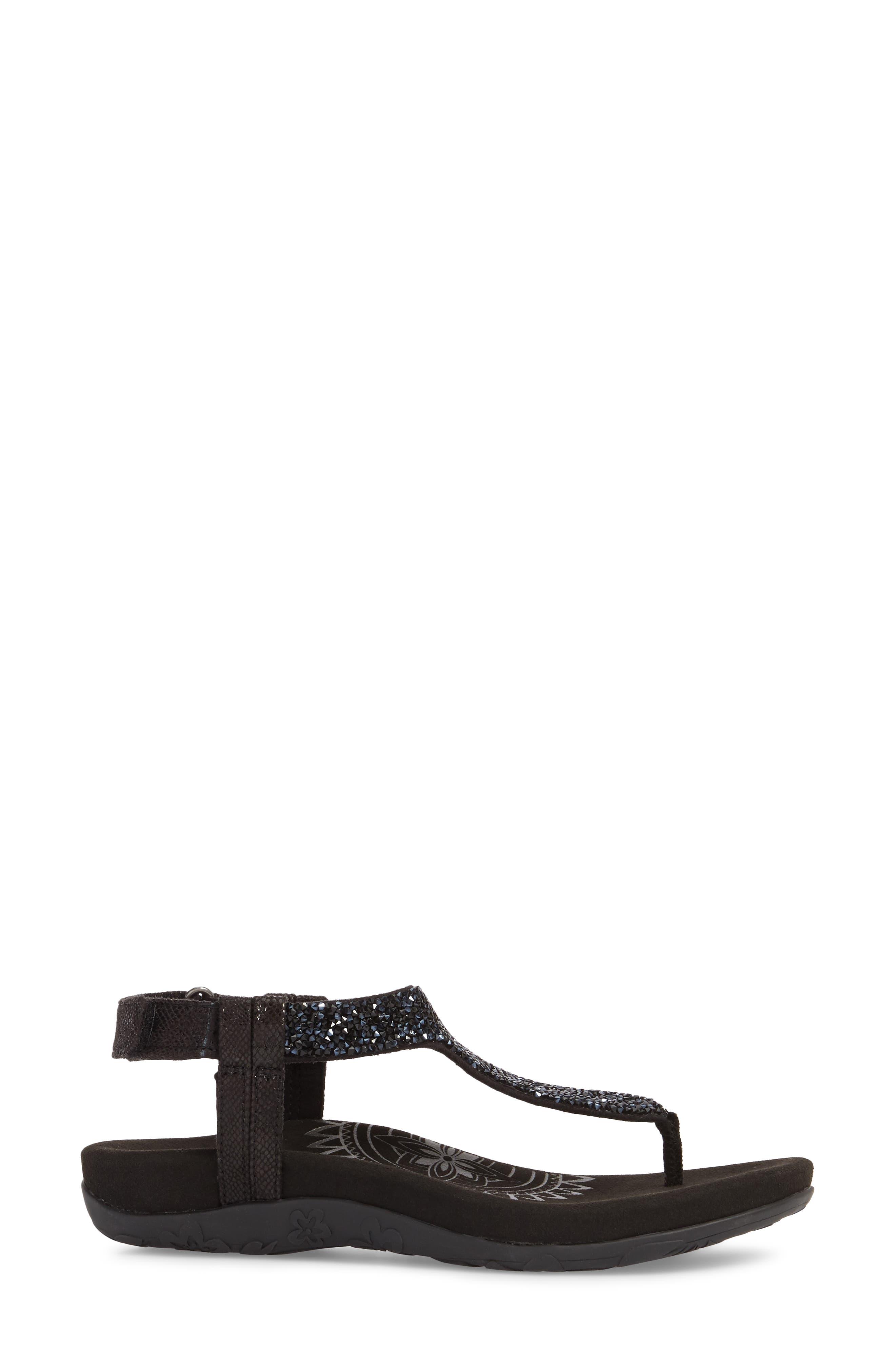 AETREX, Jade Embellished T-Strap Sandal, Alternate thumbnail 3, color, BLACK LEATHER