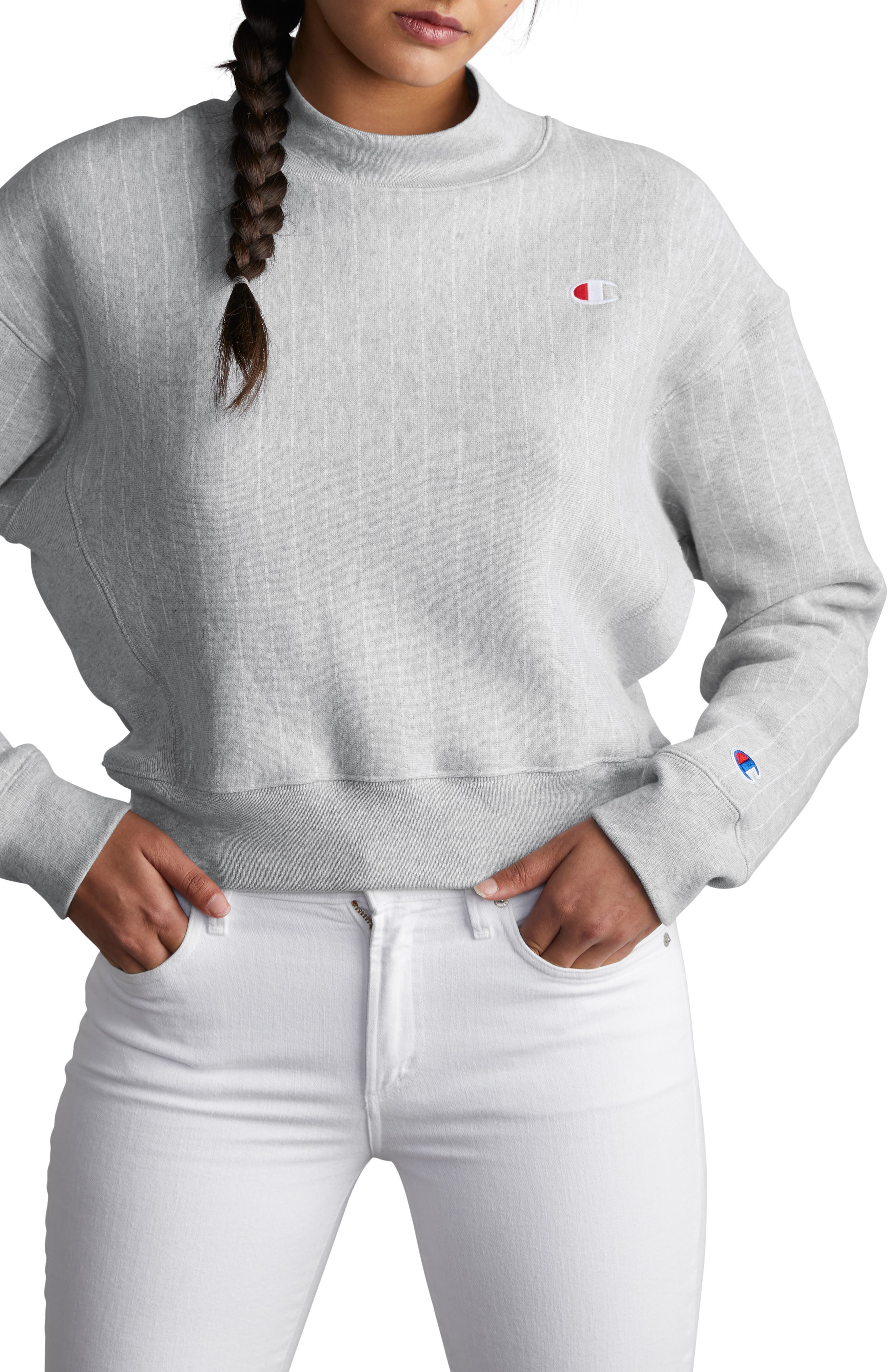 CHAMPION, Mock Neck Reverse Panel Crop Sweatshirt, Main thumbnail 1, color, PINSTRIPE OXFORD GREY