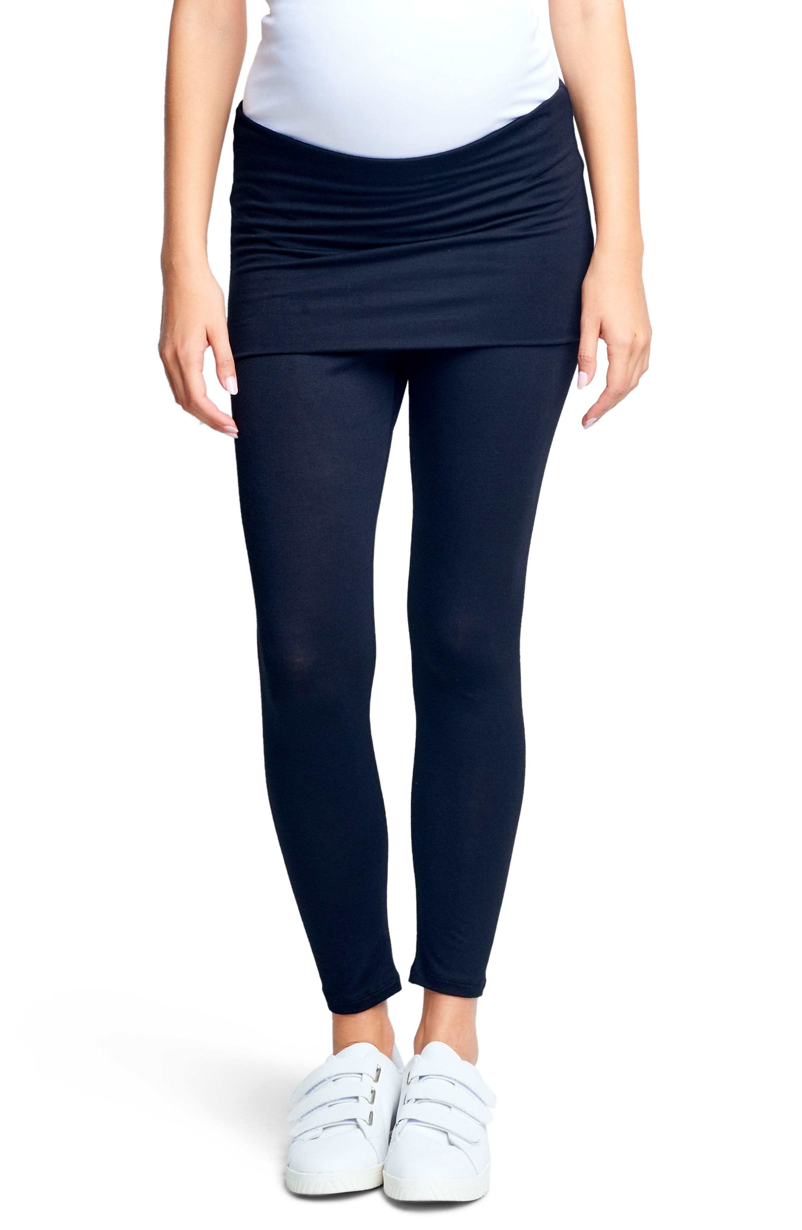 MATERNAL AMERICA Belly Support Maternity Leggings, Main, color, BLACK