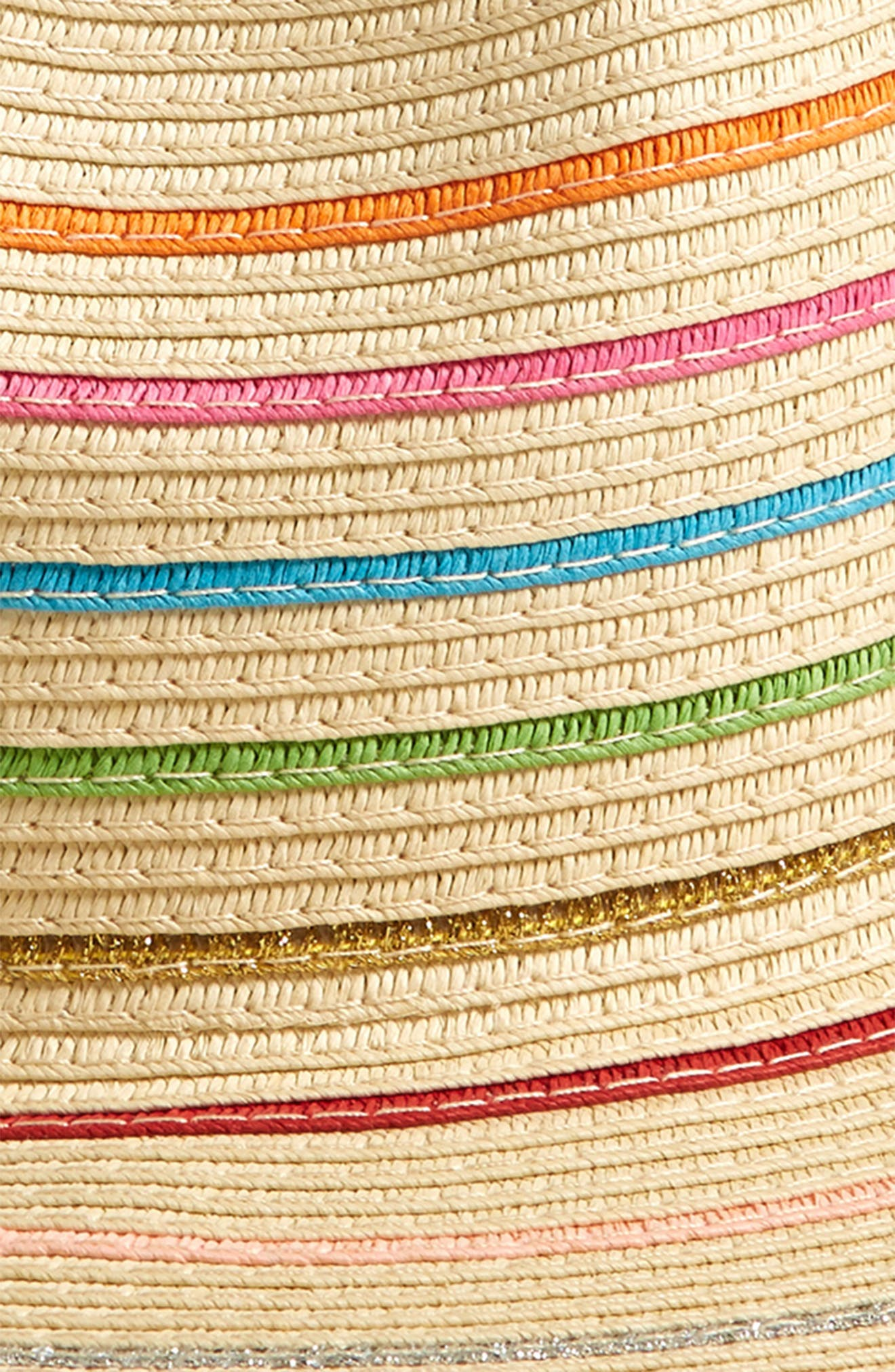ECHO, Stripe Packable Straw Fedora, Alternate thumbnail 2, color, 200