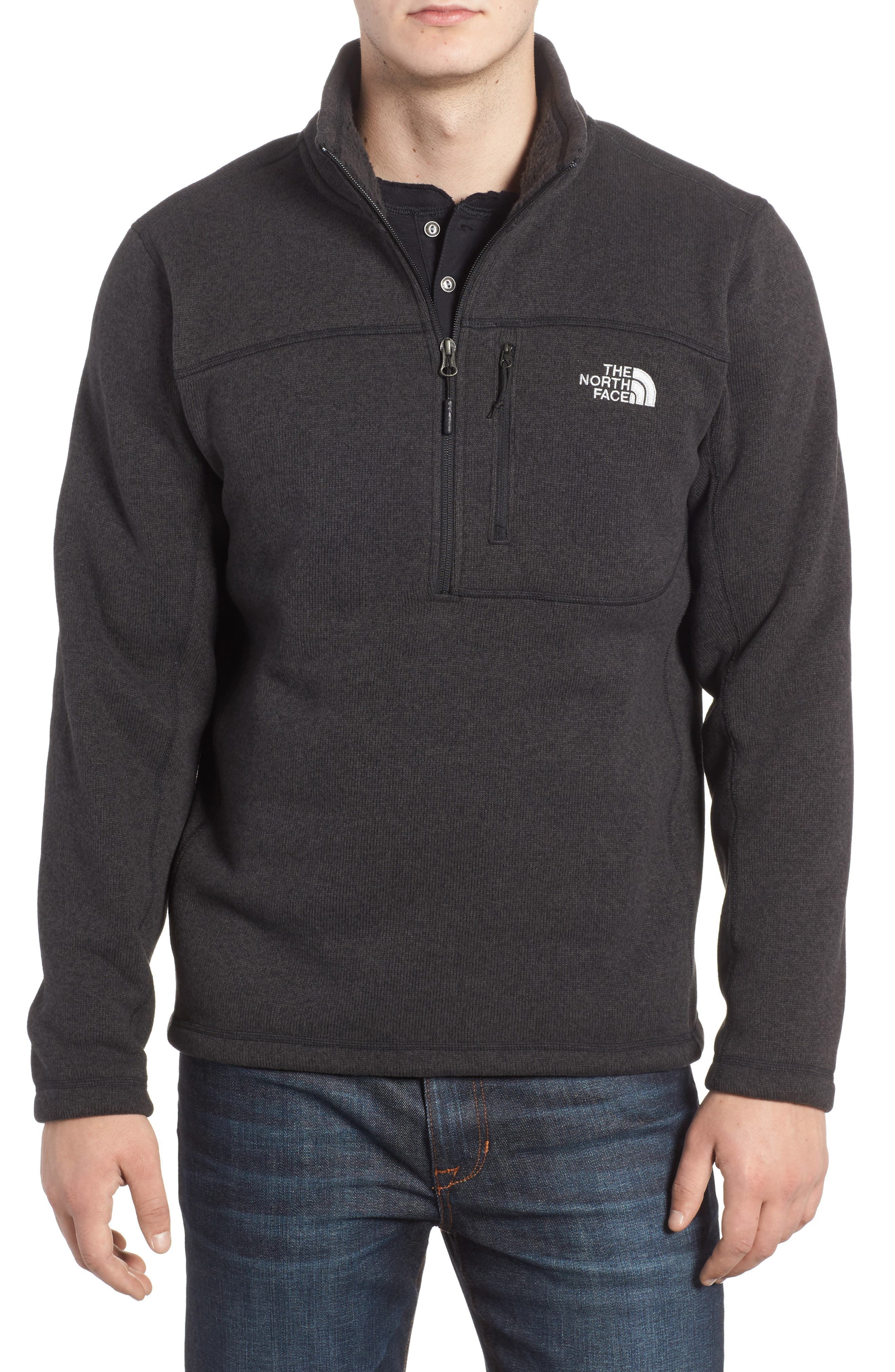 THE NORTH FACE, Gordon Lyons Quarter-Zip Fleece Jacket, Main thumbnail 1, color, 001