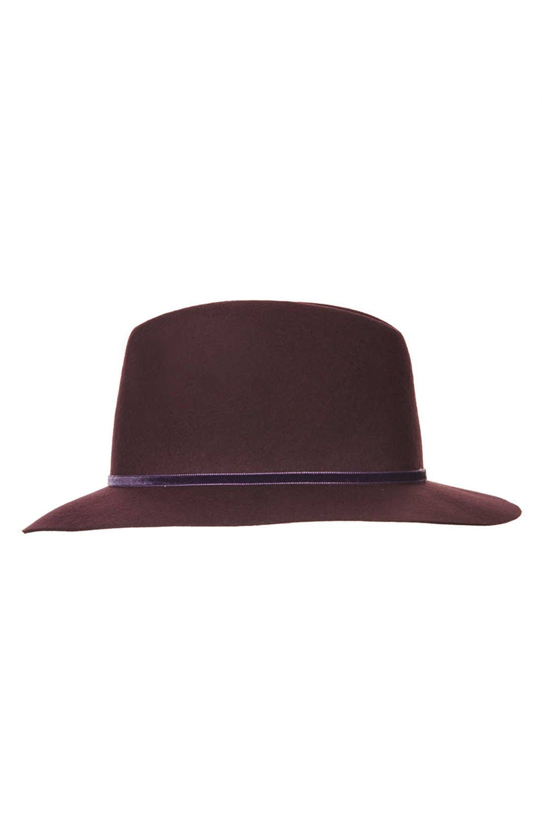 TOPSHOP, 'New Clean Edge' Wool Fedora, Alternate thumbnail 2, color, 930