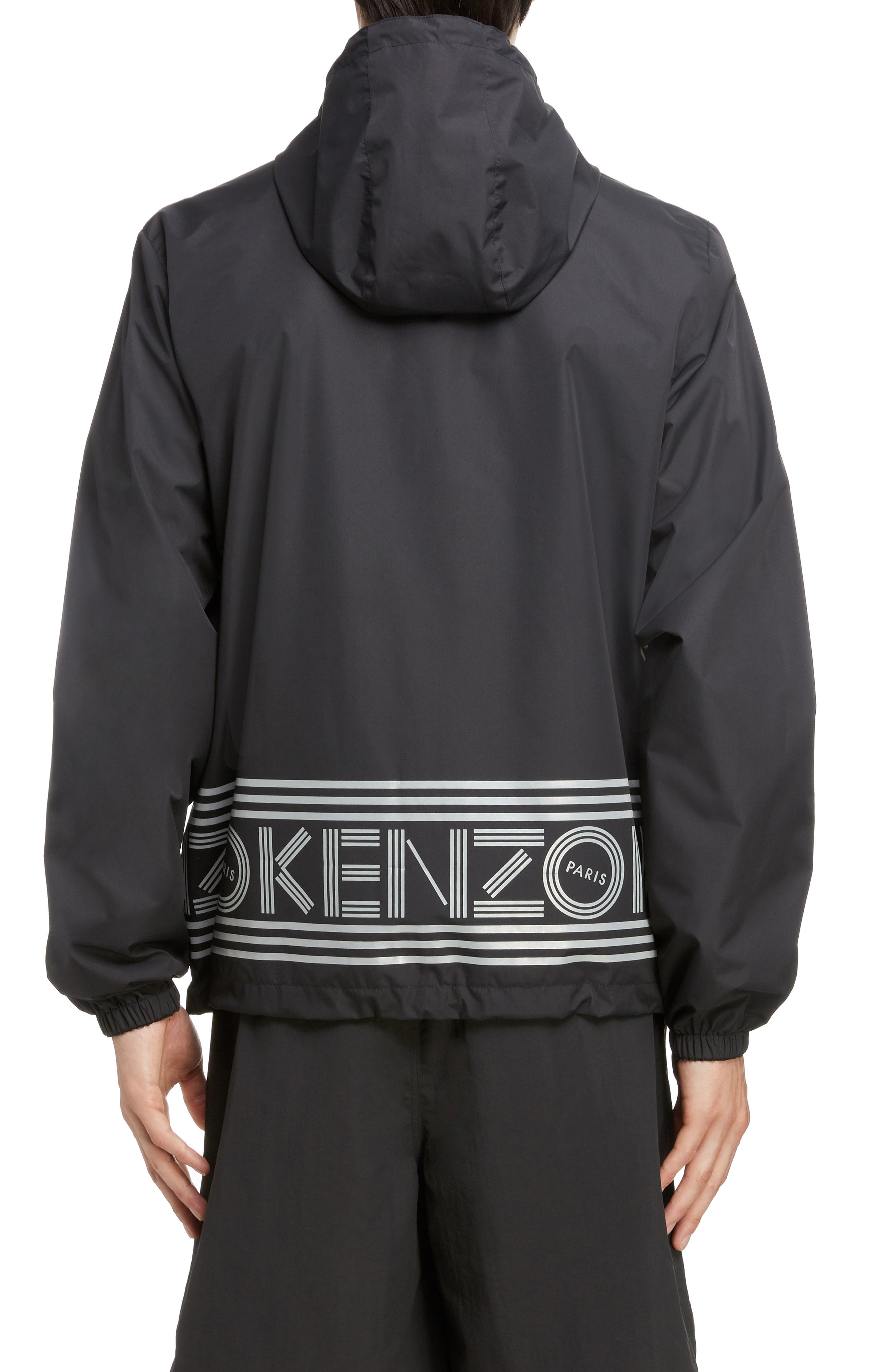 KENZO, Reversible Hooded Windbreaker, Alternate thumbnail 3, color, BLACK