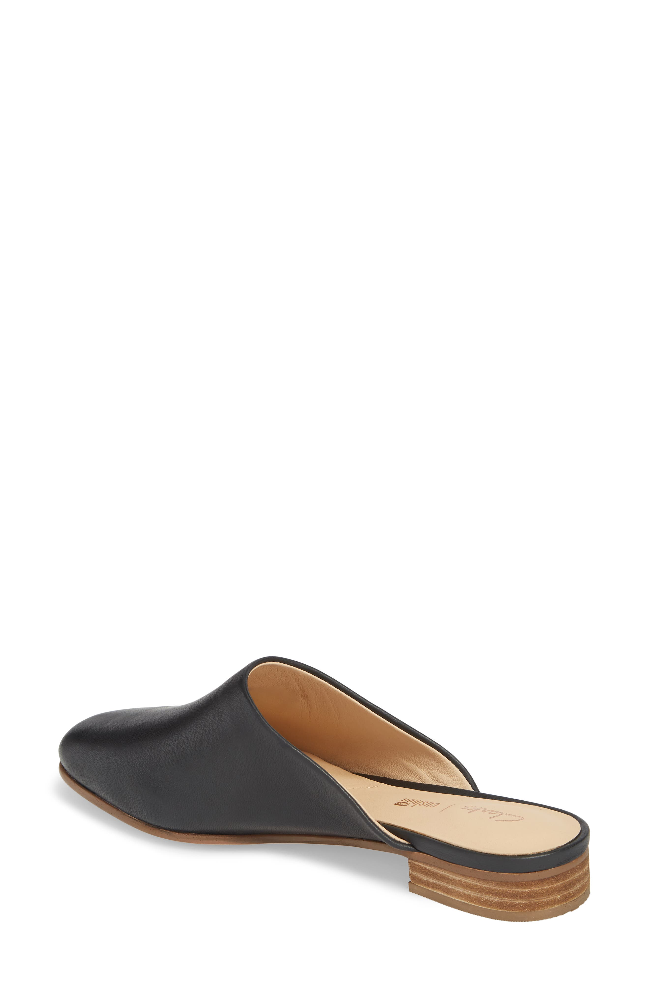 CLARKS<SUP>®</SUP>, Pure Blush Mule, Alternate thumbnail 2, color, BLACK LEATHER