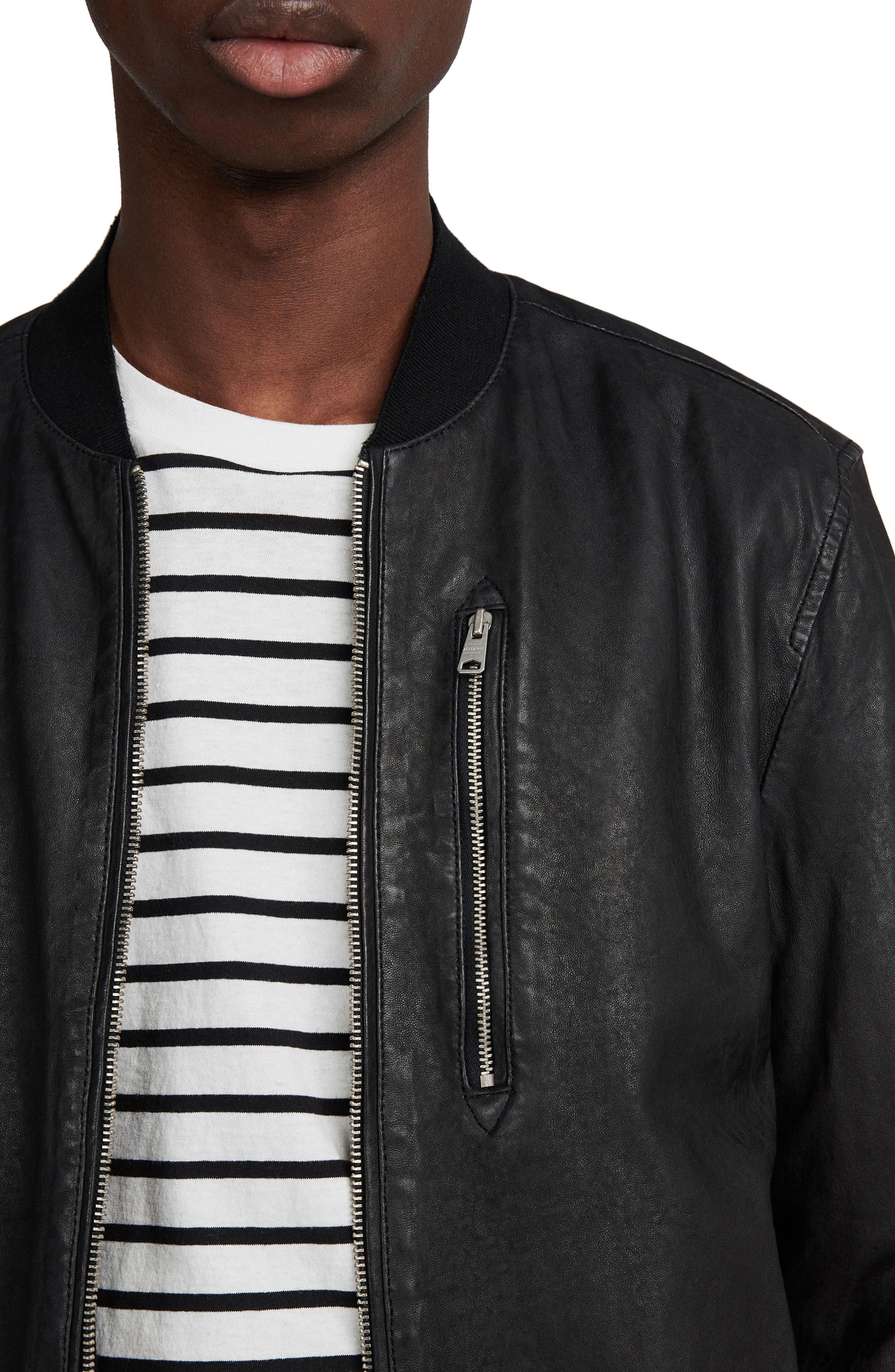 ALLSAINTS, Kino Leather Bomber Jacket, Alternate thumbnail 4, color, BLACK