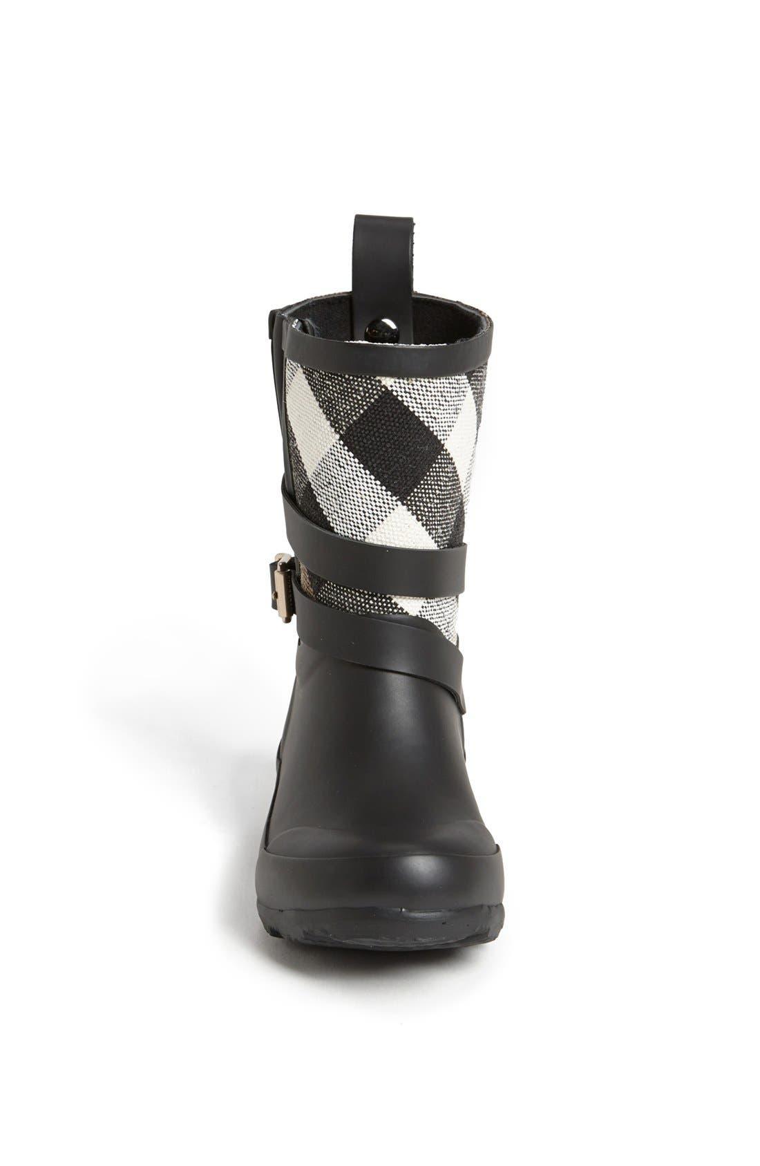 BURBERRY, 'Holloway' Rain Boot, Alternate thumbnail 3, color, 001