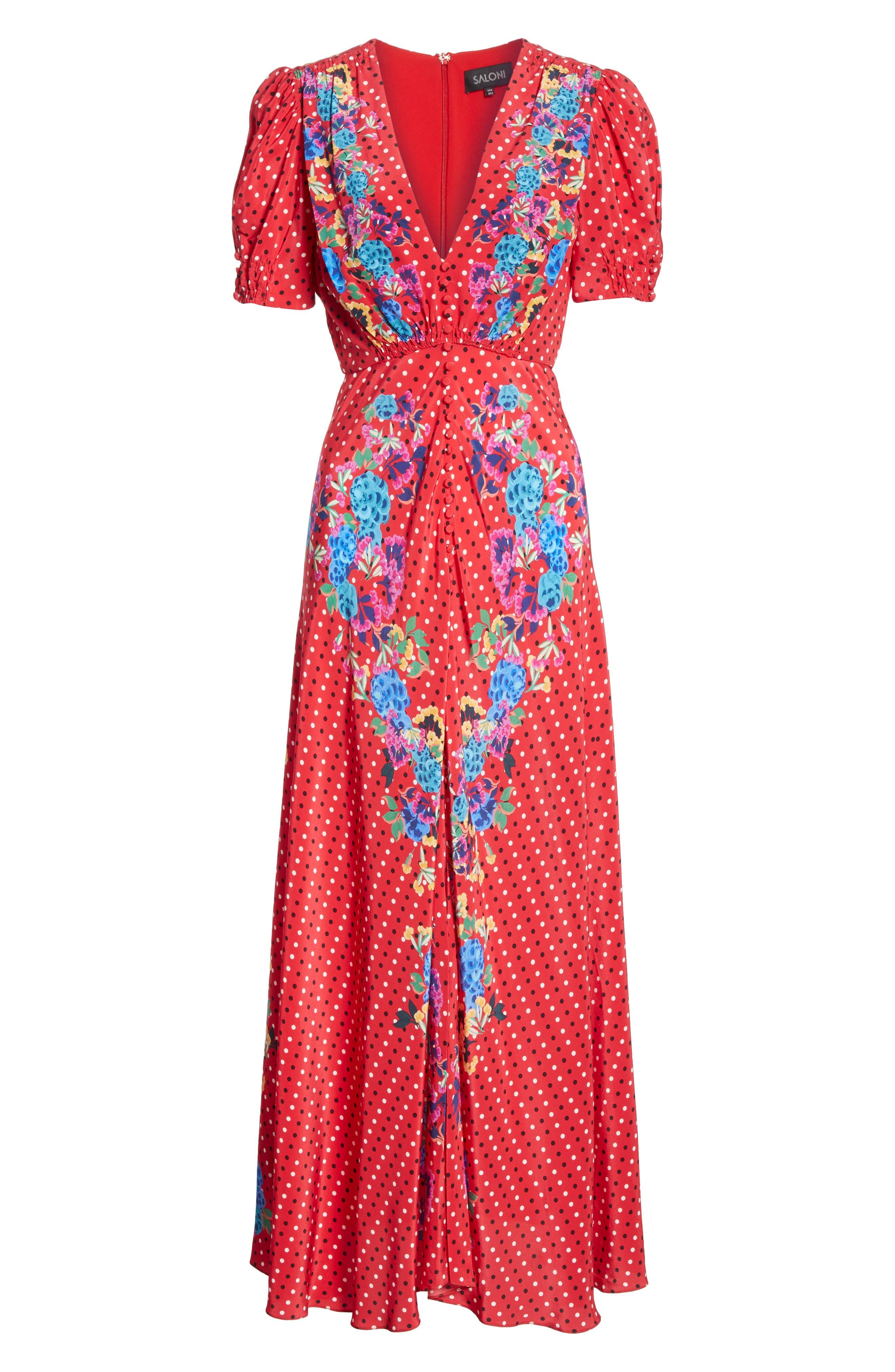 SALONI, Lea Print Silk Maxi Dress, Alternate thumbnail 6, color, SCARLET POLKA DOT