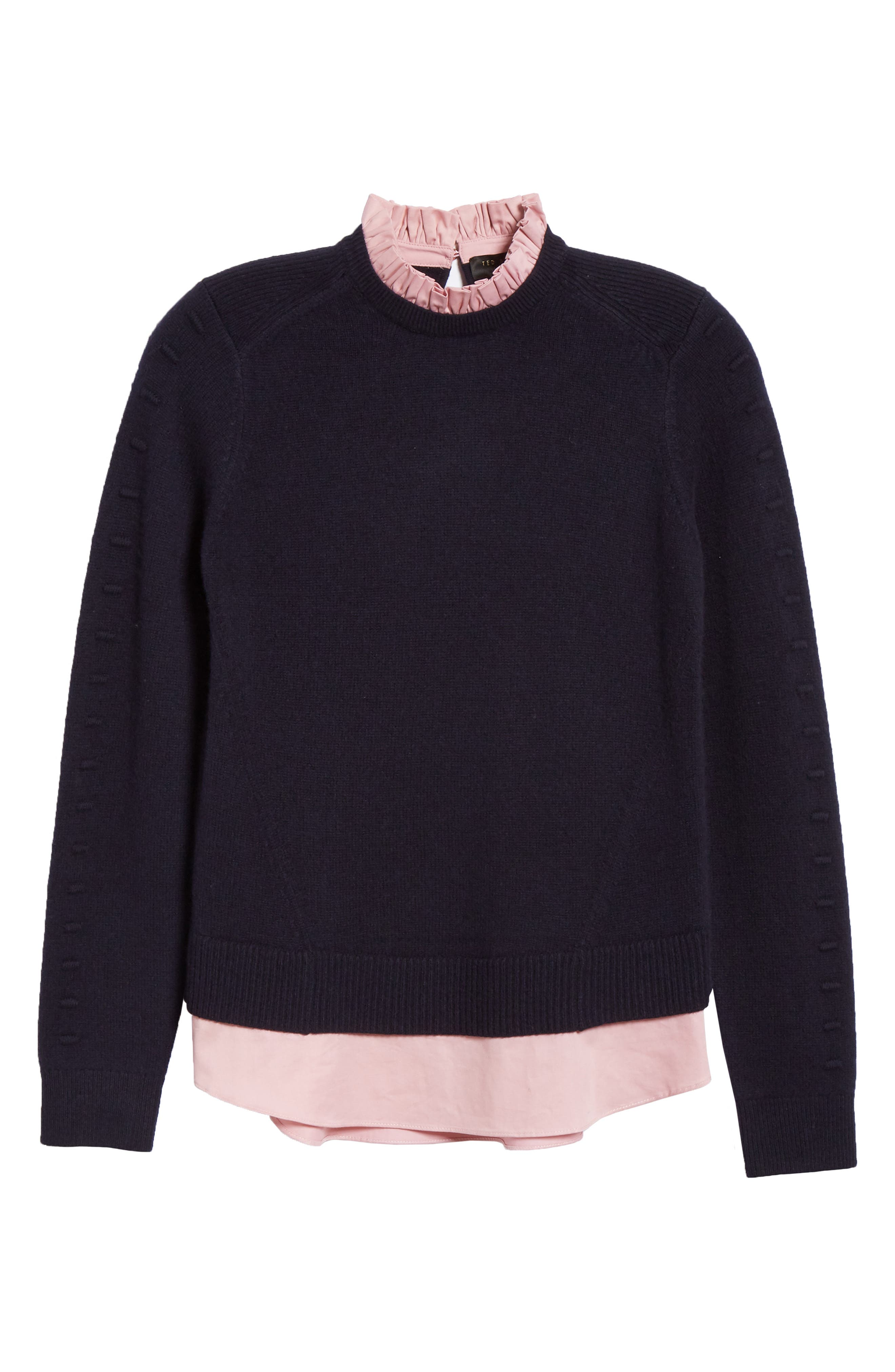 TED BAKER LONDON, Mock Two-Piece Sweater, Alternate thumbnail 6, color, NAVY
